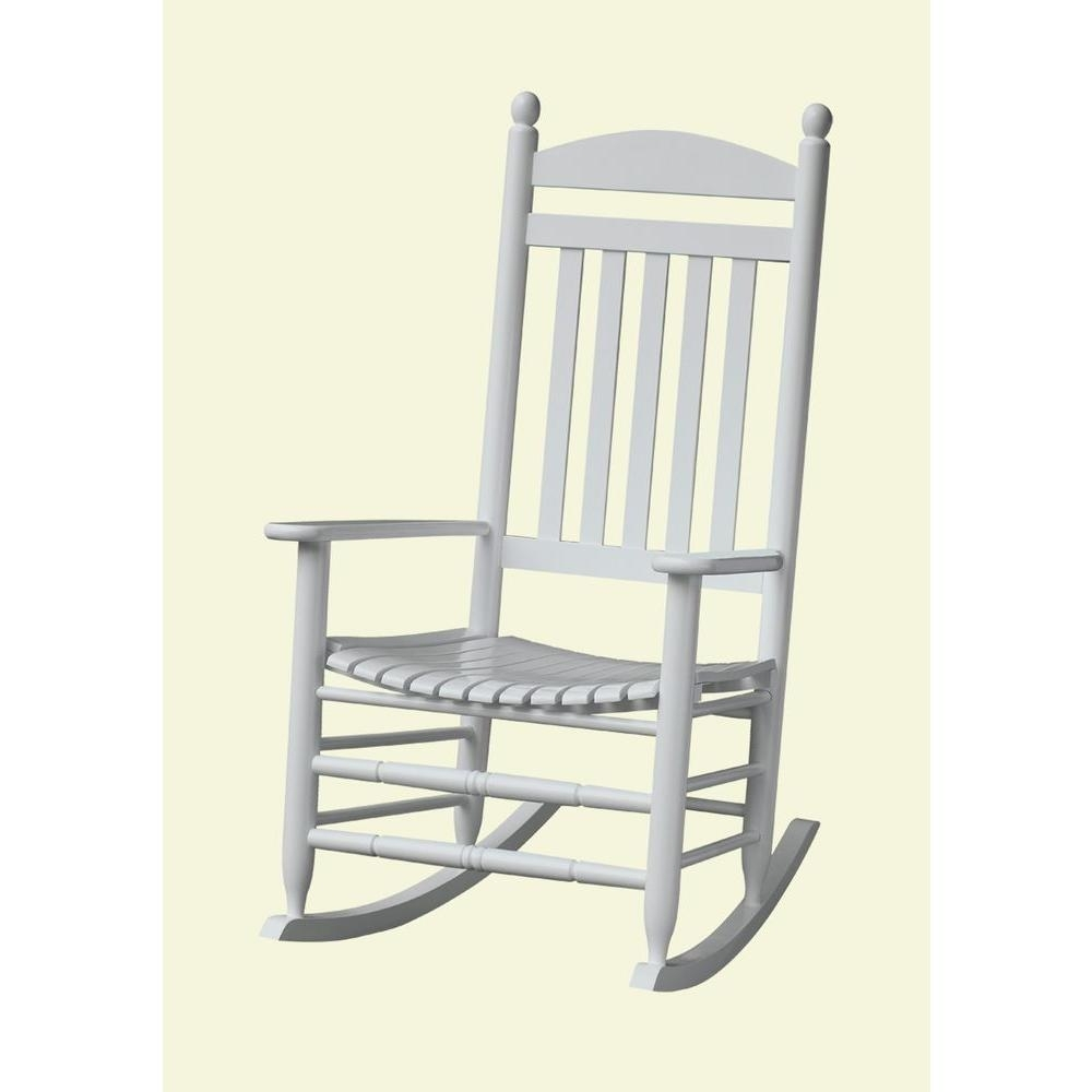 Bradley White Slat Patio Rocking Chair 200Sw Rta – The Home Depot Within Rocking Chairs For Patio (#4 of 15)