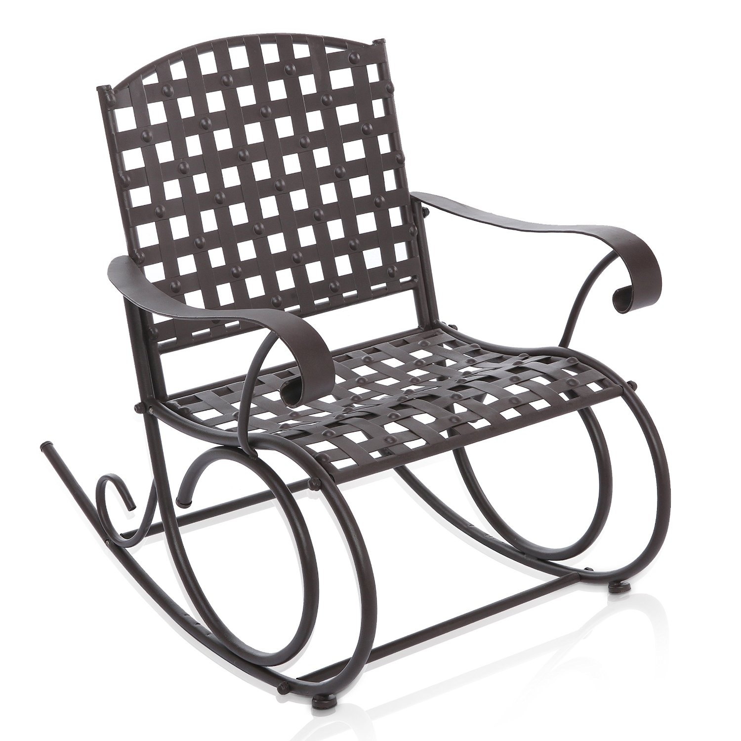 Buy Decorative Dark Brown Woven Metal Rocking Chair / Outdoor Patio With Regard To Outdoor Patio Metal Rocking Chairs (View 14 of 15)