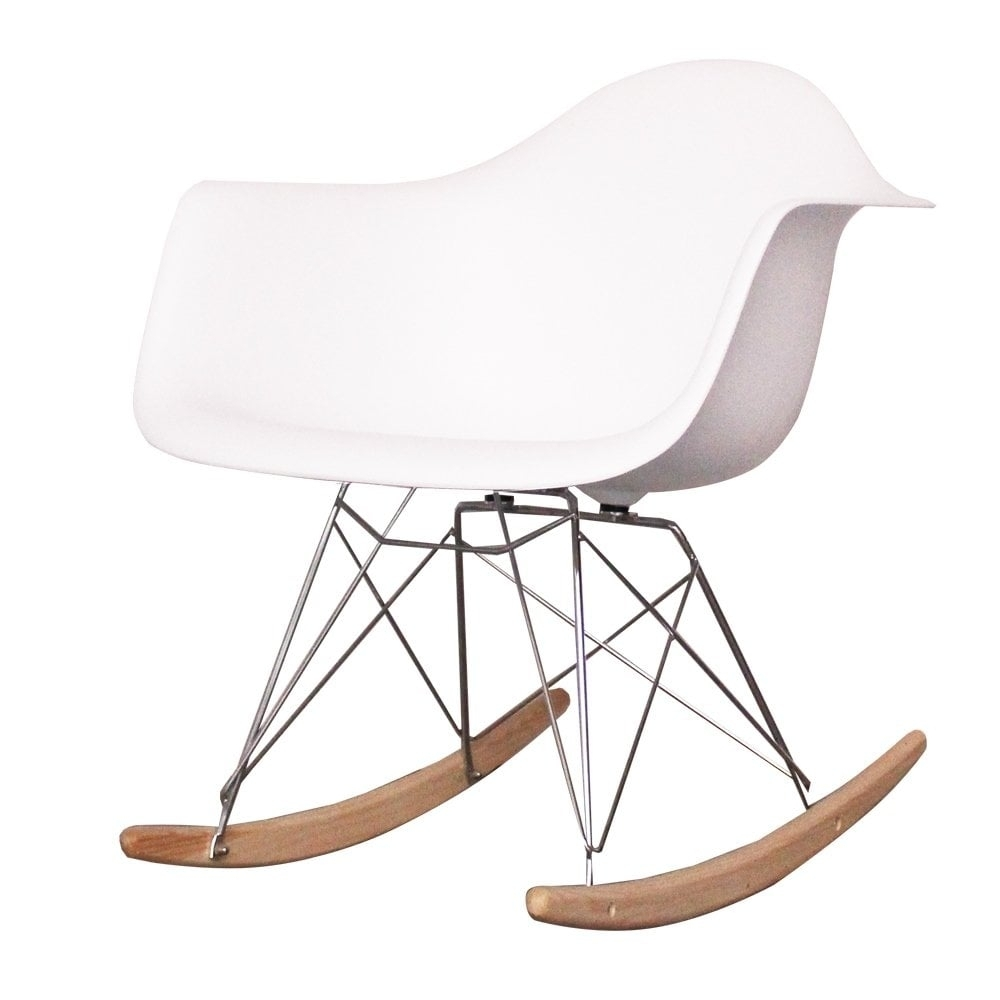Buy Eames Style White Rocker | Cool White Plastic Rocking Chair Online With Retro Rocking Chairs (View 2 of 15)