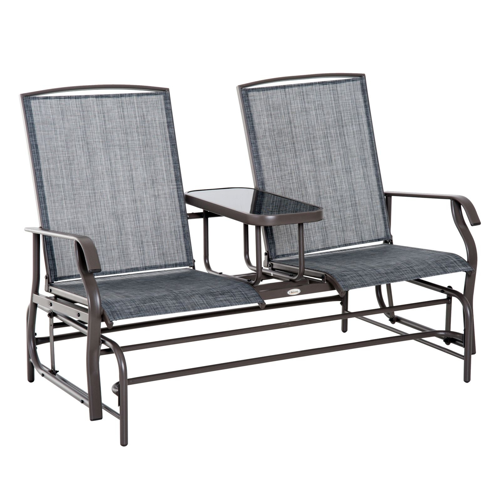 Buy Outsunny Metal Double Swing Chair Glider Rocking Chair Seat Within Patio Rocking Chairs And Gliders (#3 of 15)