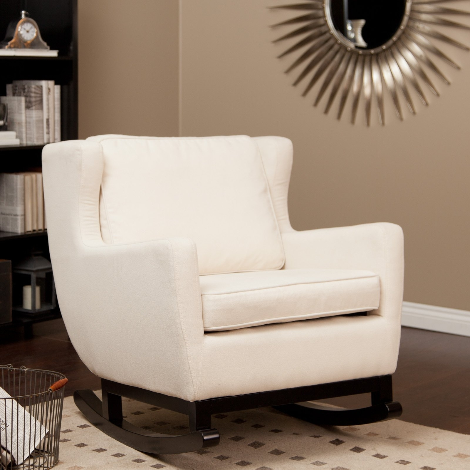 Chair | Boston Rocking Chair White Glider Rocker Comfortable Rocking With Regard To Upholstered Rocking Chairs (#7 of 15)
