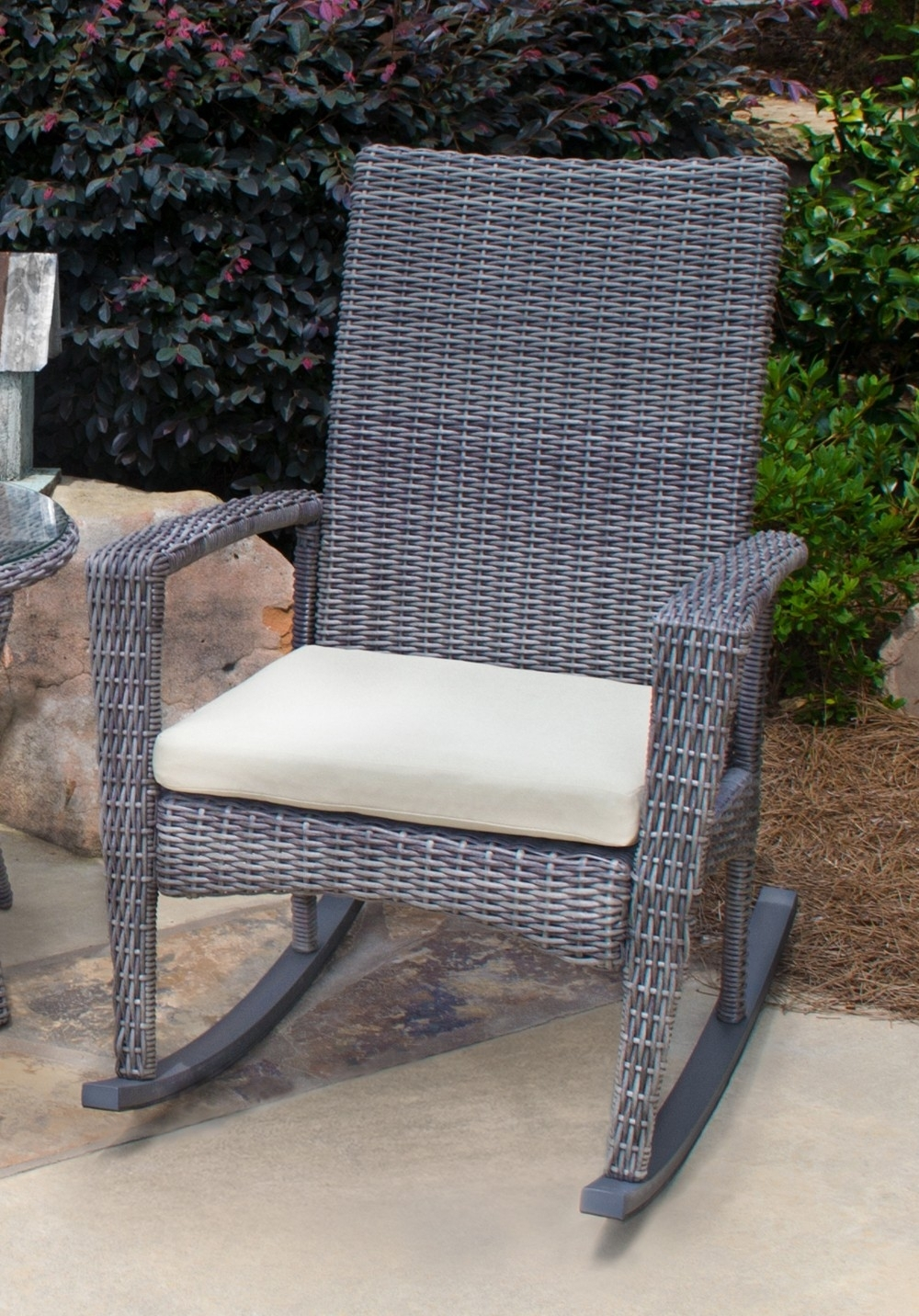 Chair | Hardwood Rocking Chair Wicker Rocker Patio Furniture Outdoor Intended For Wicker Rocking Chairs Sets (#2 of 15)