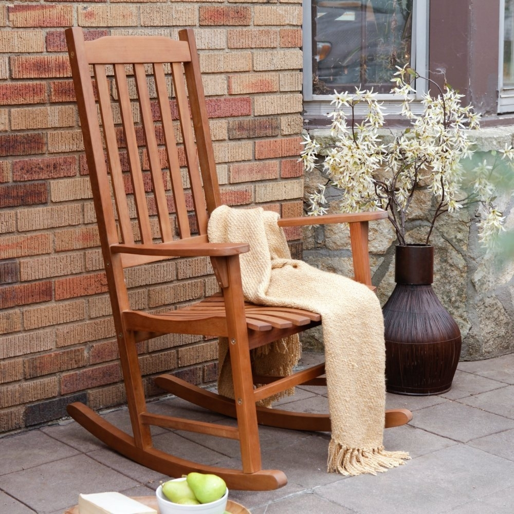 Chair | Teal Outdoor Rocking Chair Wooden Oak Rocking Chair Patio With Regard To Patio Wooden Rocking Chairs (#4 of 15)