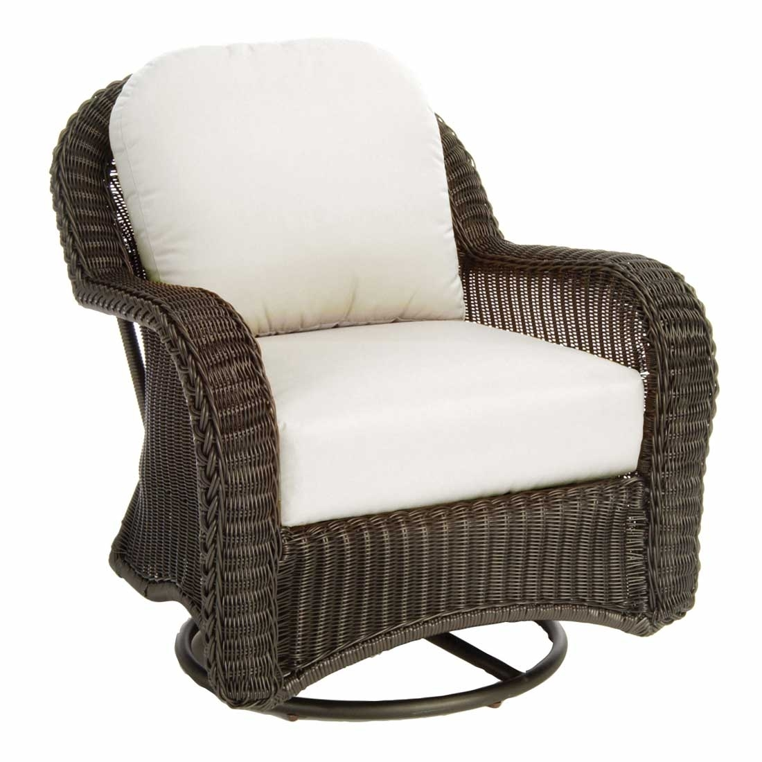 Classic Outdoor Wicker Swivel Glider Inside Wicker Rocking Chairs And Ottoman (#5 of 15)