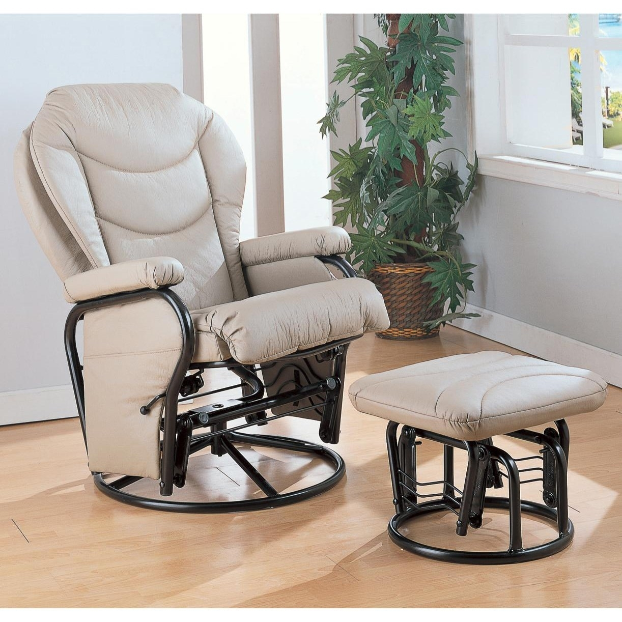 Coaster Furniture Ottomans Glider Rocker With Round Base Fantastic Within Rocking Chairs With Ottoman (#5 of 15)