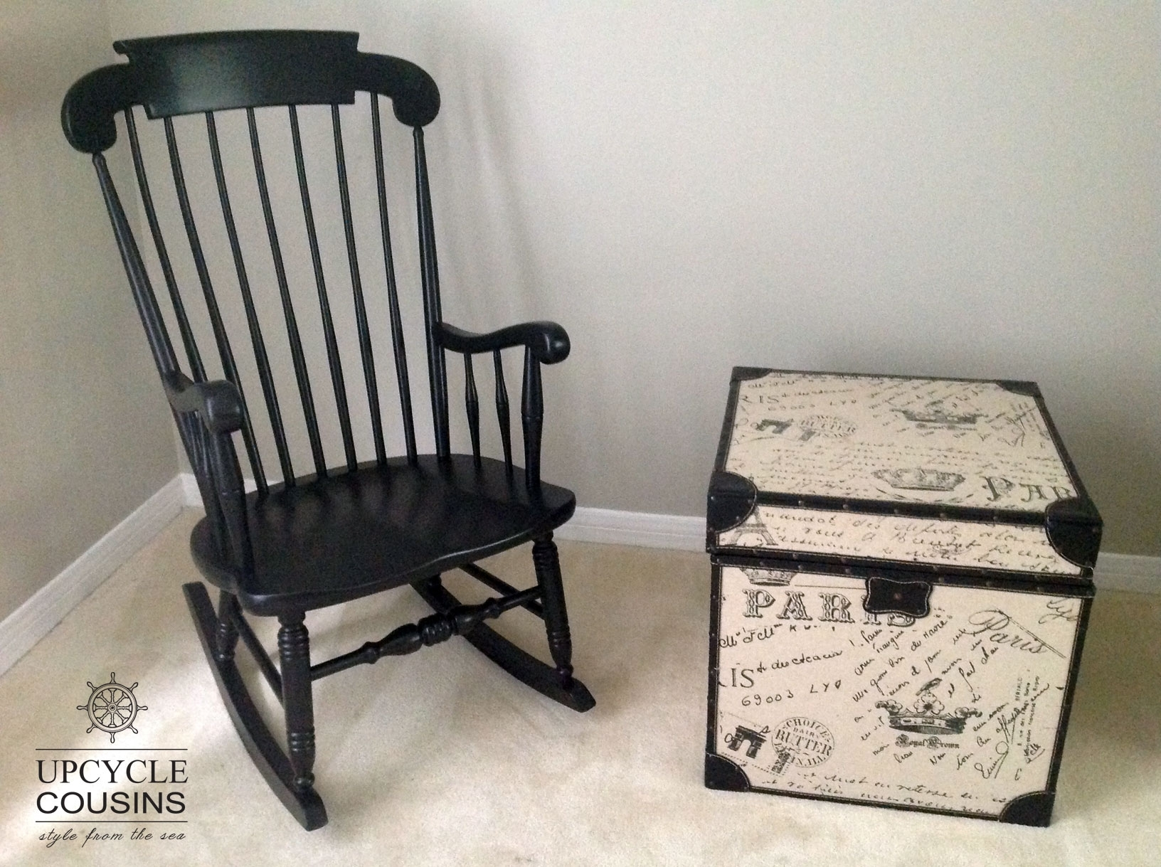 Cool Black Indoor/outdoor Rocking Chair | Upcycle Cousins With Regard To Upcycled Rocking Chairs (#4 of 15)