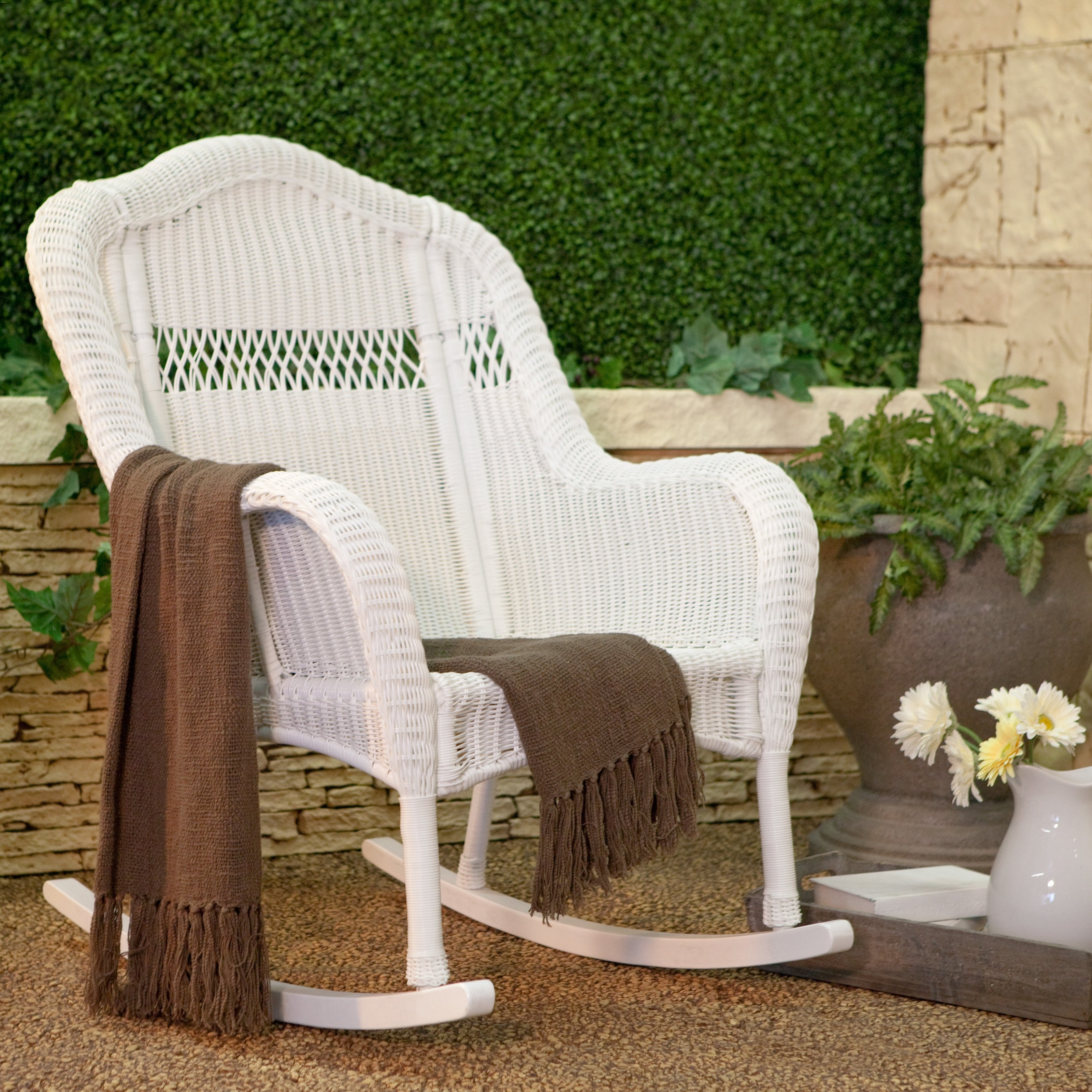 Coral Coast Casco Bay Resin Wicker Rocking Chair | Hayneedle Pertaining To White Wicker Rocking Chairs (#5 of 15)