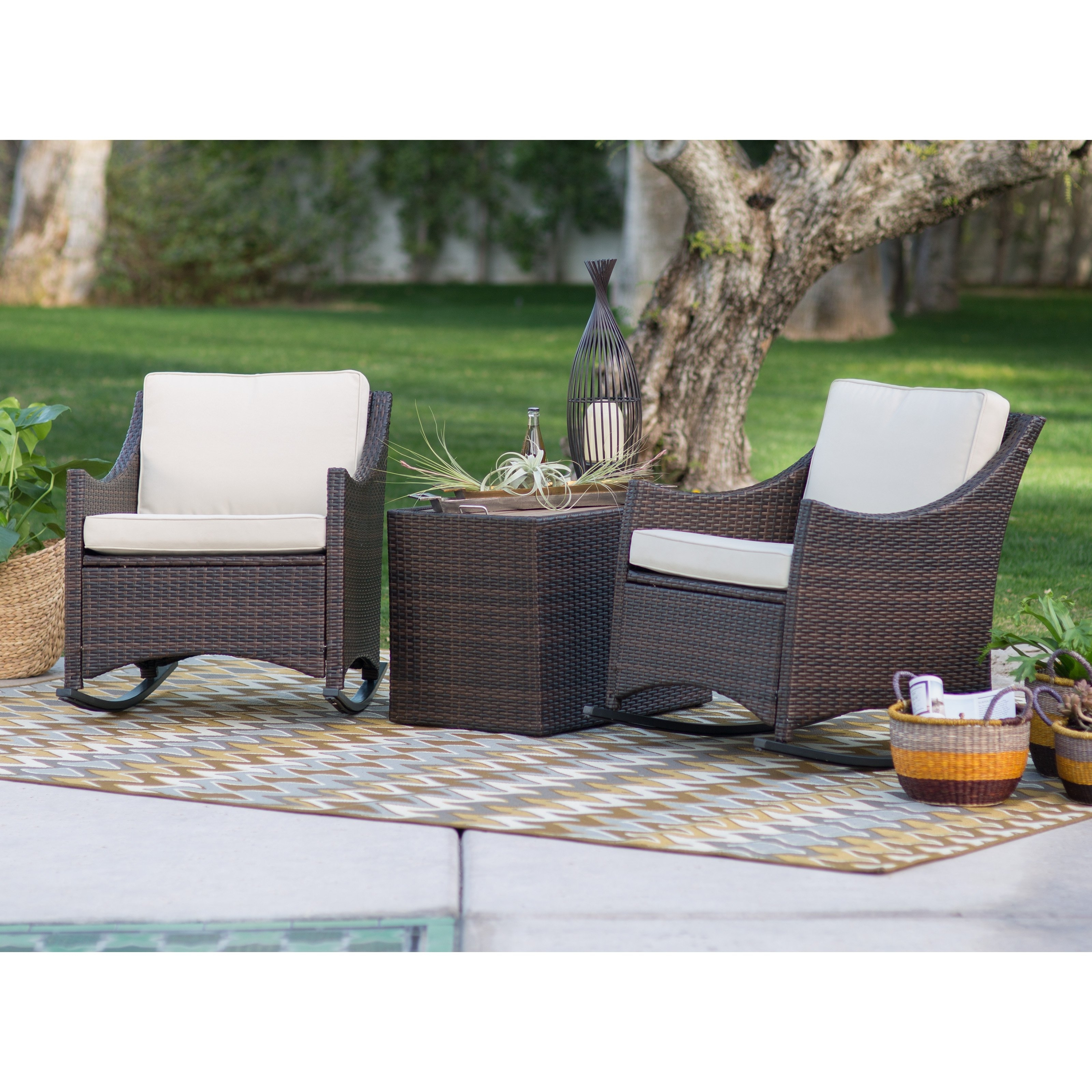 Coral Coast Harrison 3 Piece Club Style Rocking Chairs With Side Throughout Outdoor Rocking Chairs With Table (#3 of 15)