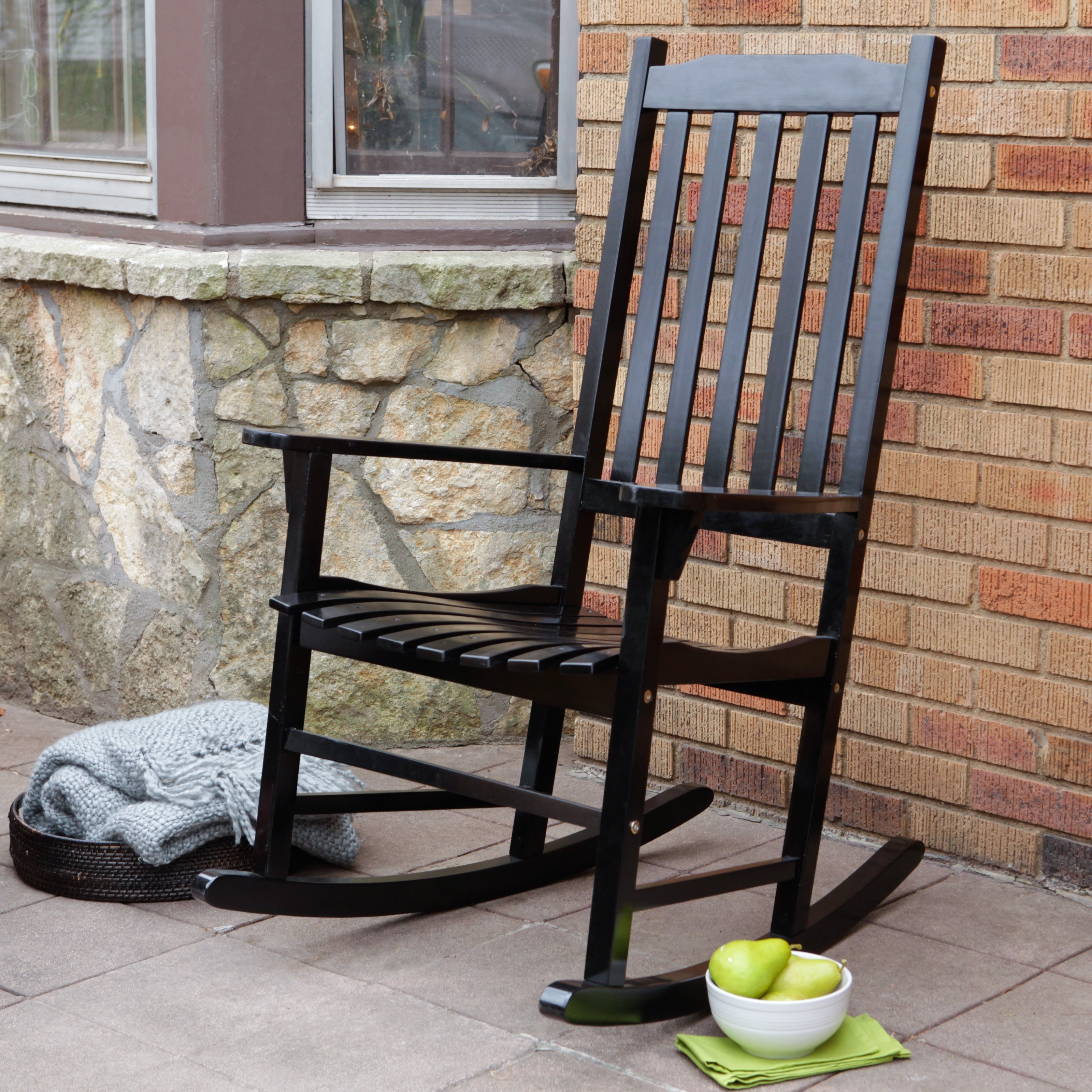 Coral Coast Indoor/outdoor Mission Slat Rocking Chair – Black In Rocking Chairs For Outside (#4 of 15)