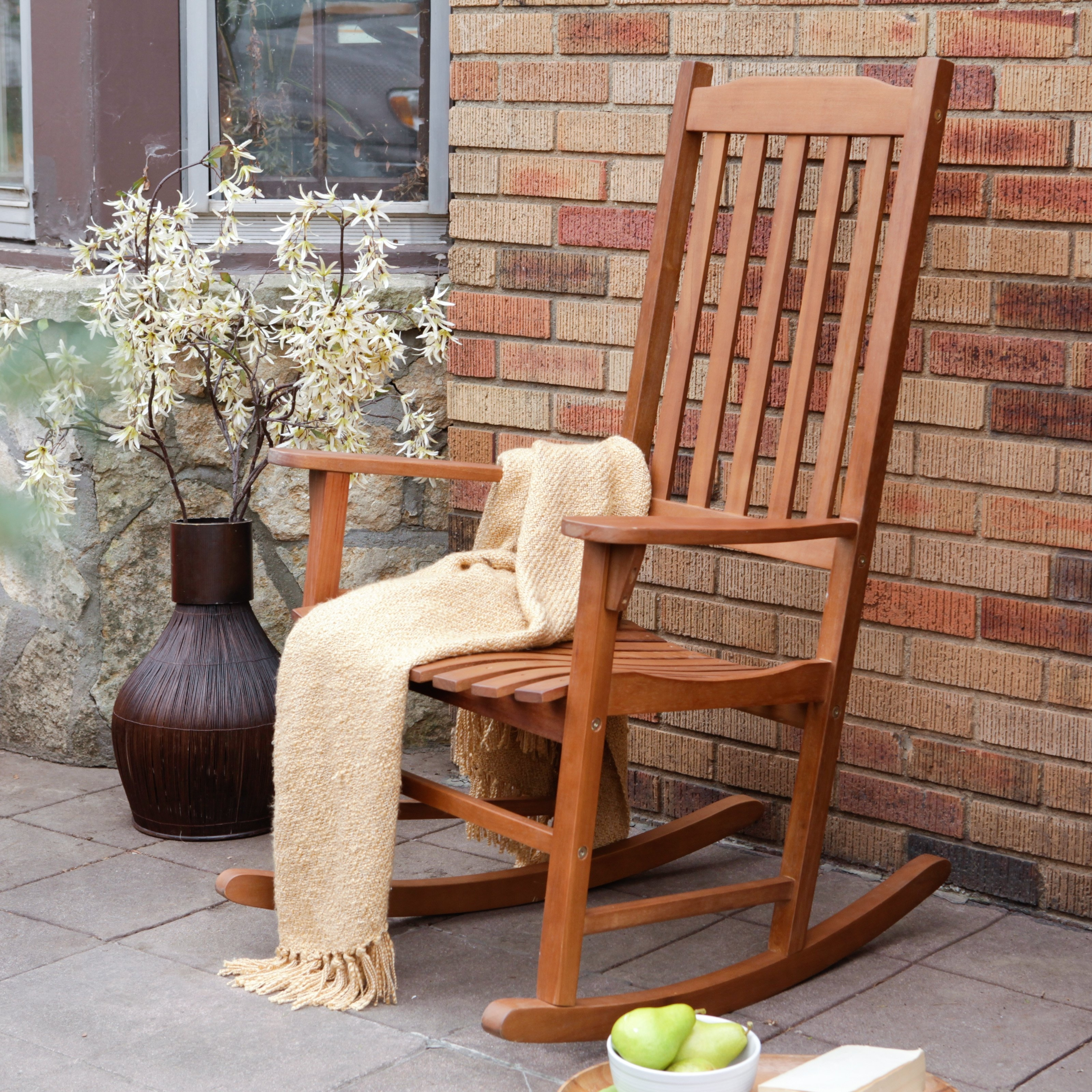 Coral Coast Indoor/outdoor Mission Slat Rocking Chair – Natural Regarding Rocking Chair Outdoor Wooden (View 4 of 15)