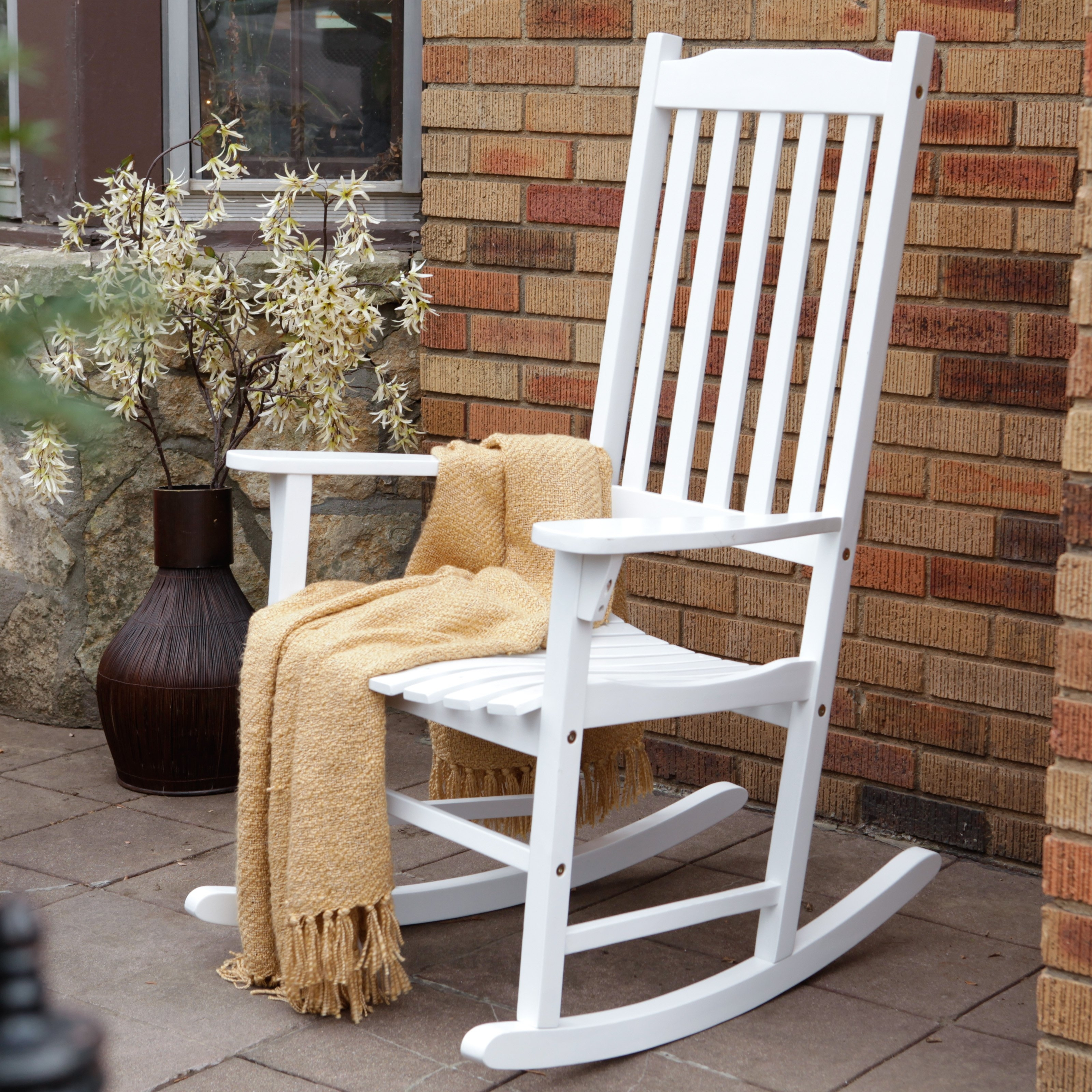 Coral Coast Indoor/outdoor Mission Slat Rocking Chair – White In Rocking Chairs For Outside (#5 of 15)