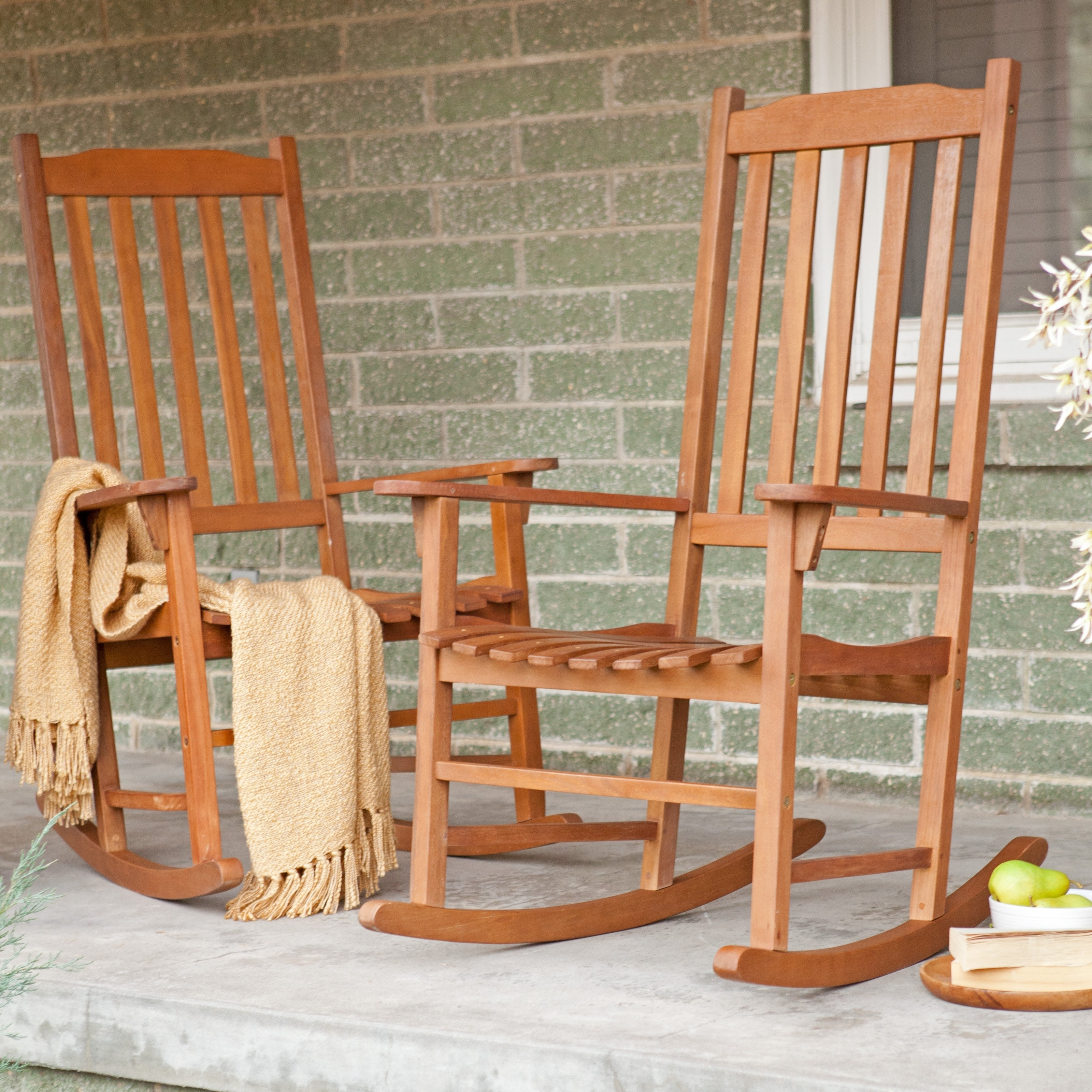 Coral Coast Indoor/outdoor Mission Slat Rocking Chairs – Natural Regarding Outside Rocking Chair Sets (View 3 of 15)