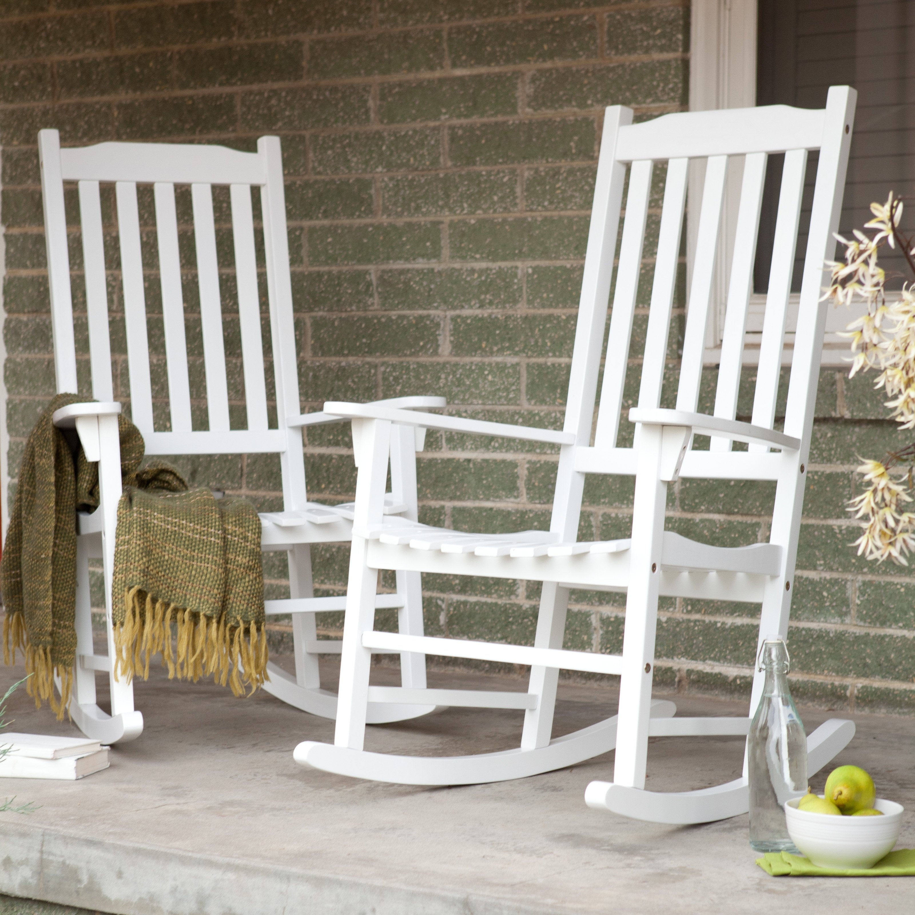 Coral Coast Indoor/outdoor Mission Slat Rocking Chairs – White – Set Inside Outside Rocking Chair Sets (View 4 of 15)