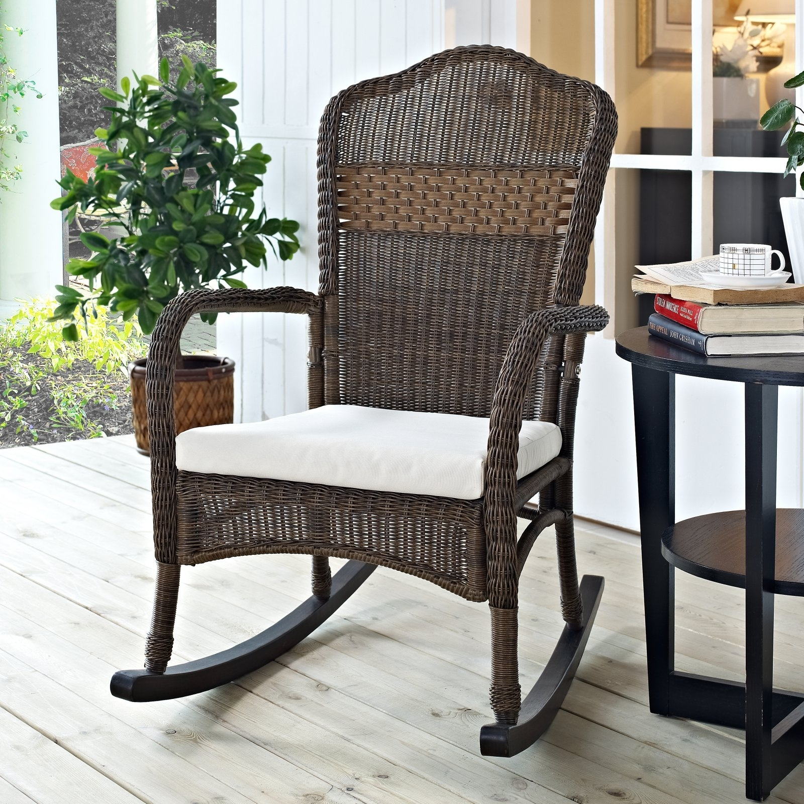 Coral Coast Mocha Resin Wicker Rocking Chair With Beige Cushion For Resin Patio Rocking Chairs (#3 of 15)