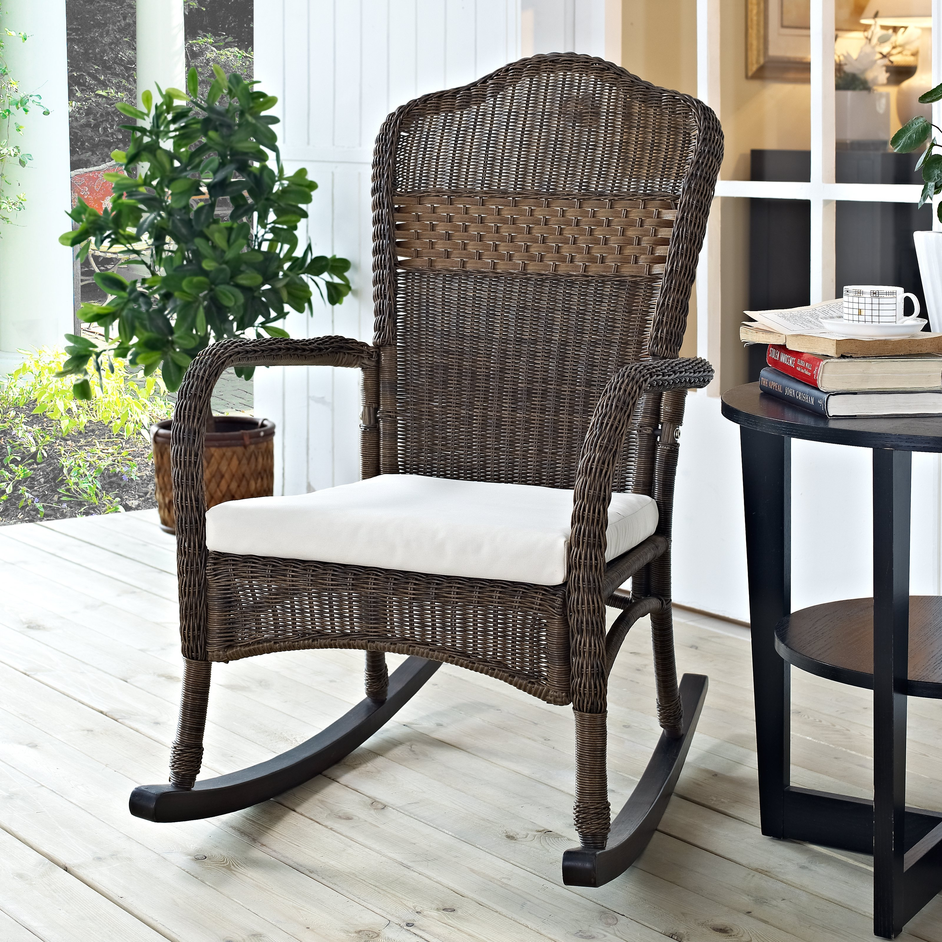 Coral Coast Mocha Resin Wicker Rocking Chair With Beige Cushion Intended For Wicker Rocking Chairs With Cushions (#4 of 15)
