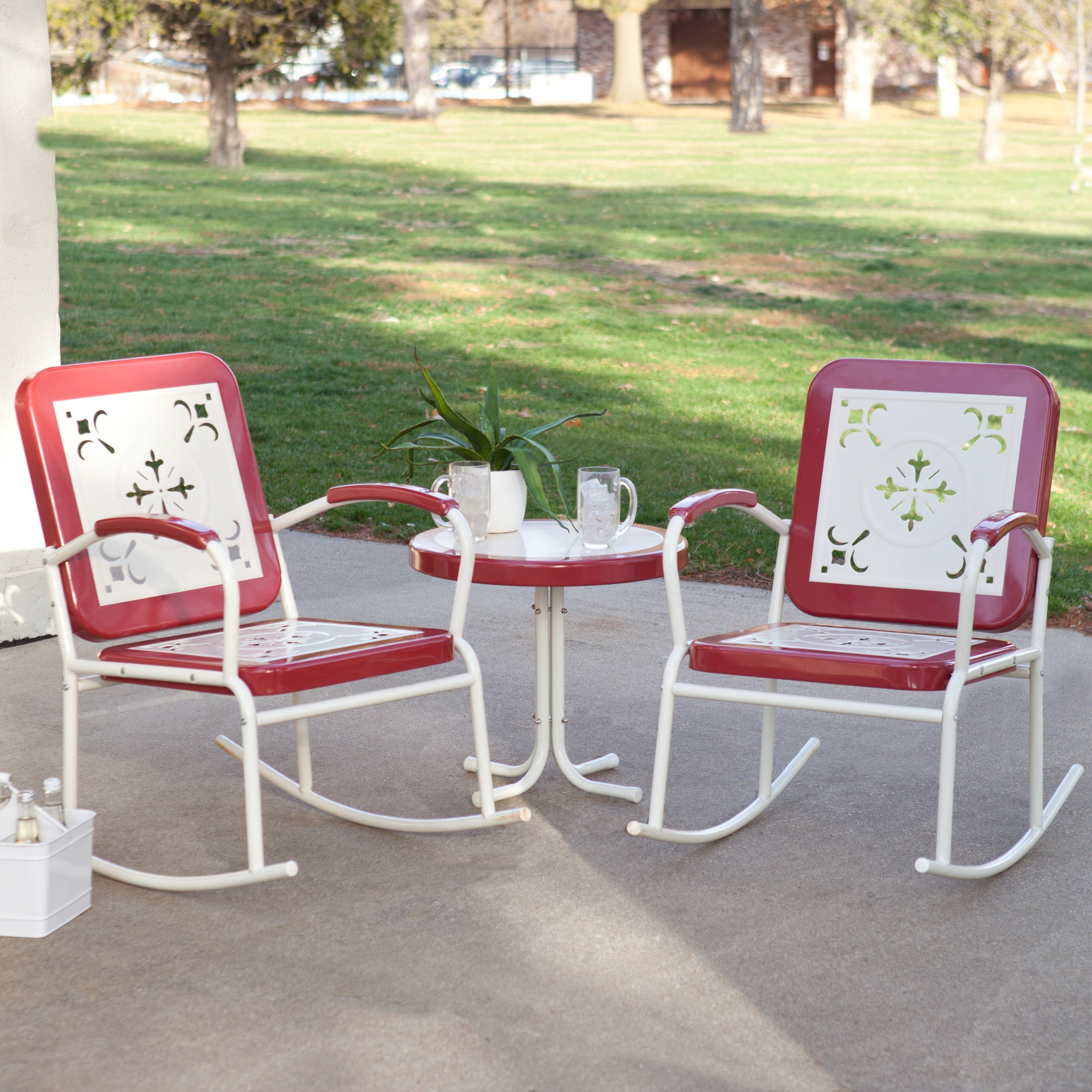 Coral Coast Paradise Cove Retro Metal Rocking Chairs – Set Of 2 Regarding Retro Outdoor Rocking Chairs (#4 of 15)