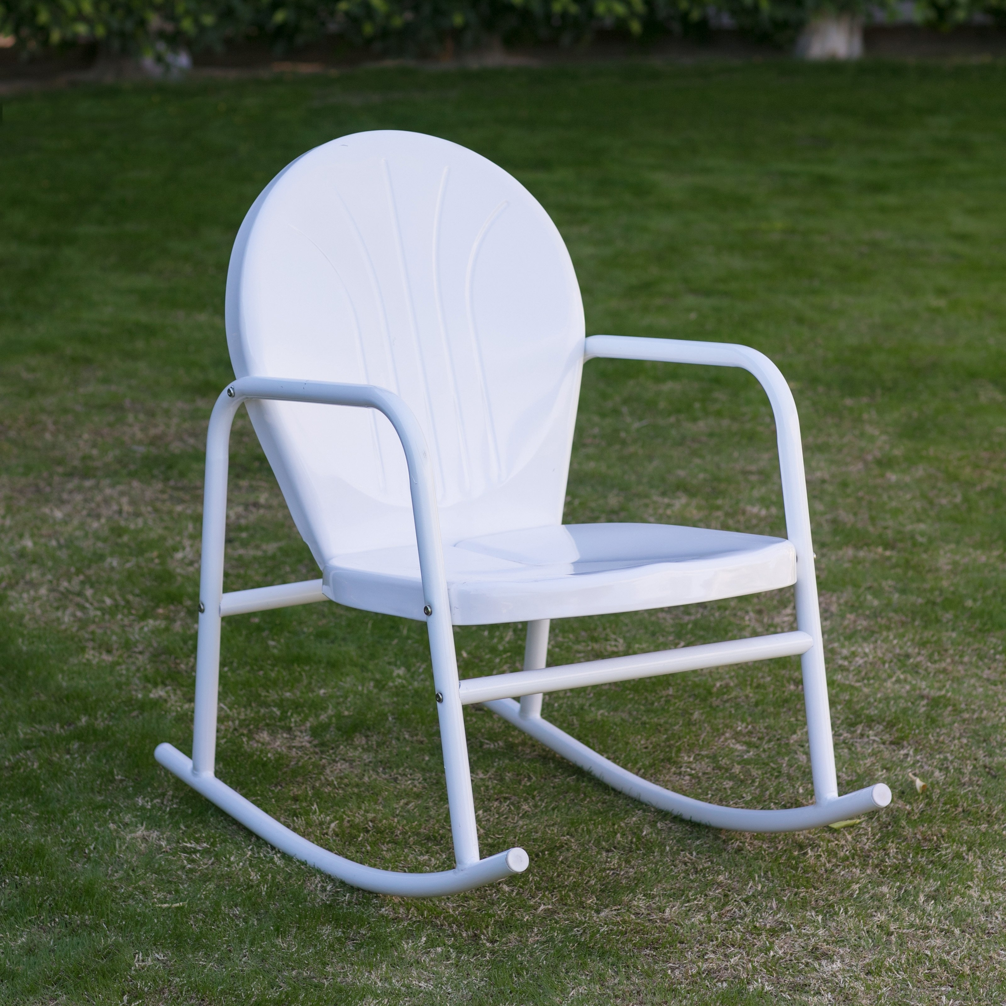 Coral Coast Retro Vintage Steel Single Rocker – Walmart Within Vintage Outdoor Rocking Chairs (View 4 of 15)