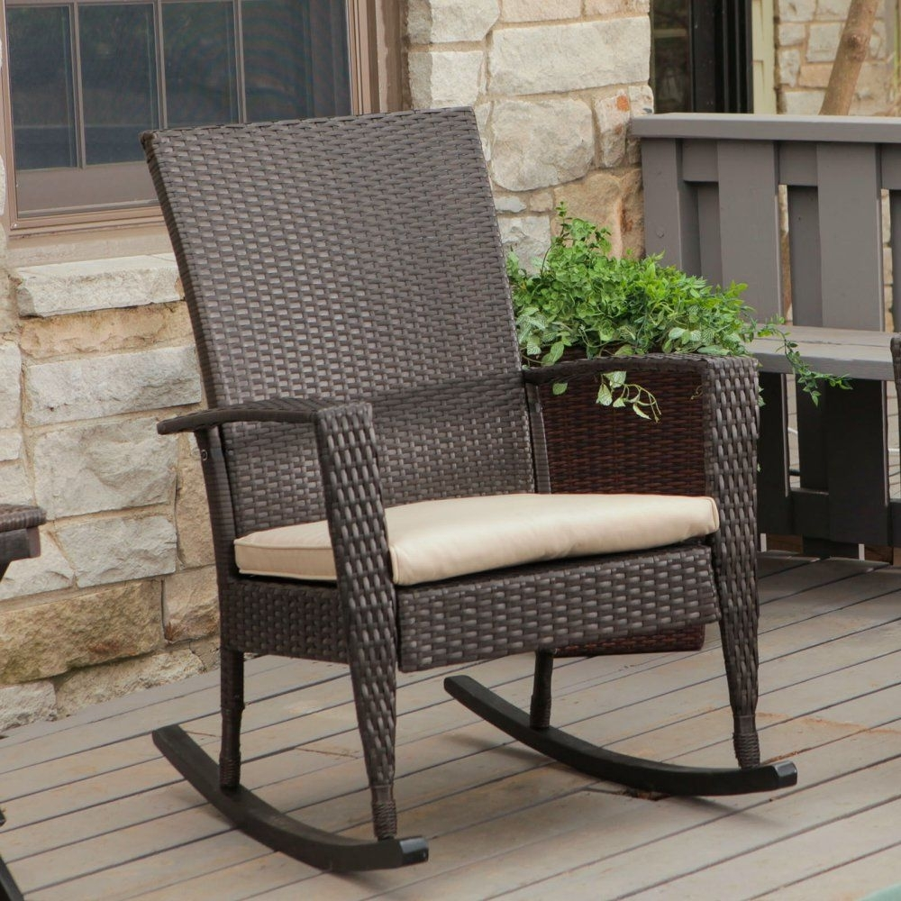 Coral Coast Soho High Back Wicker Rocking Chair With Free Cushion With Outdoor Wicker Rocking Chairs With Cushions (#4 of 15)