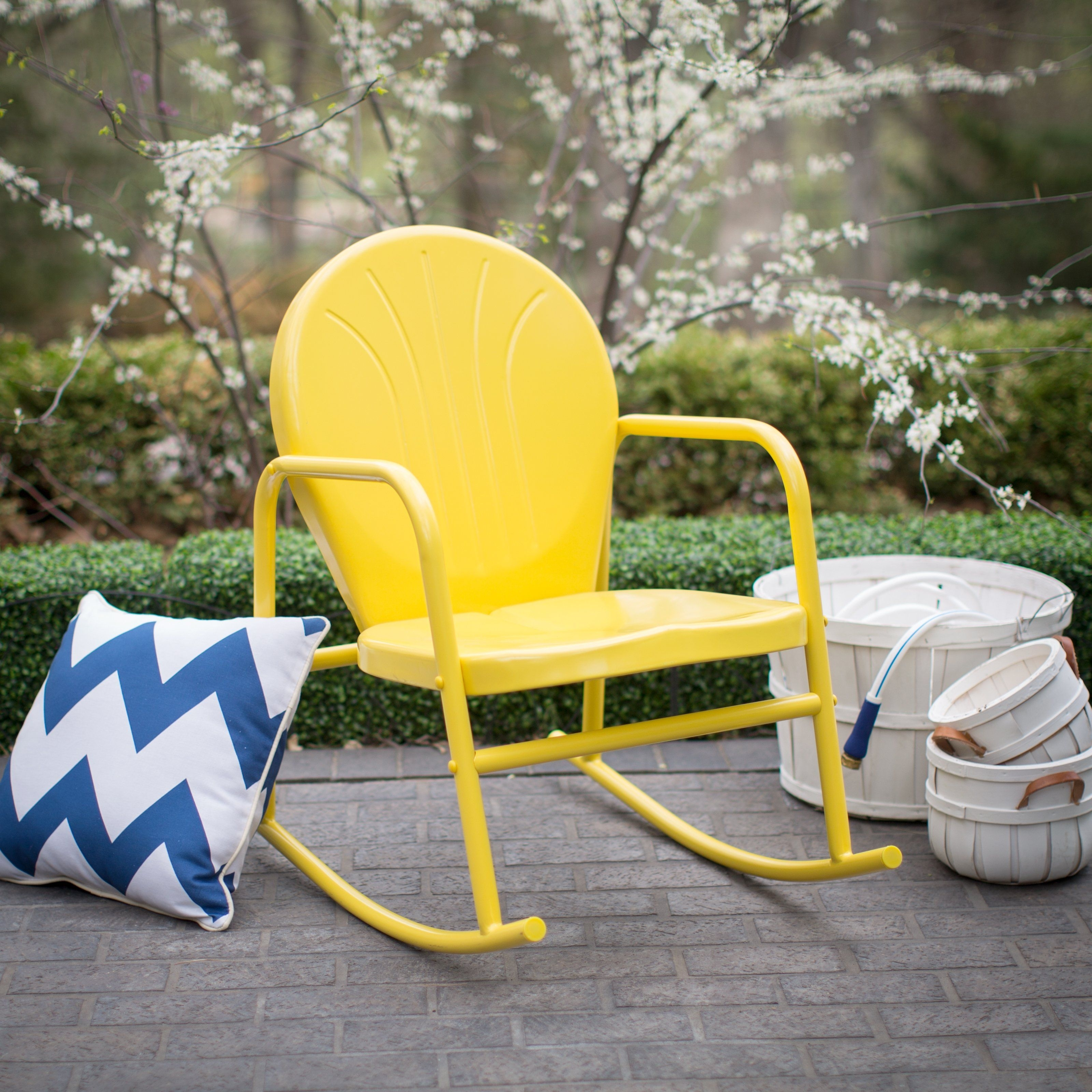 Coral Coast Vintage Retro Steel Single Rocker – Outdoor Rocking Intended For Retro Outdoor Rocking Chairs (#6 of 15)