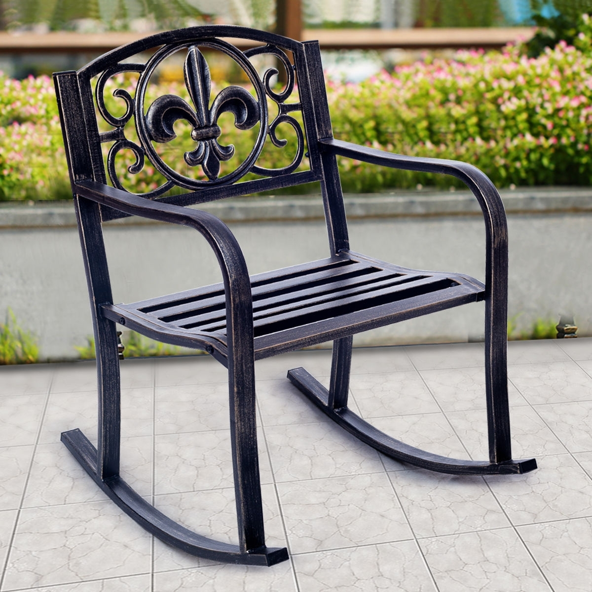 Costway: Costway Patio Metal Rocking Chair Porch Seat Deck Outdoor Regarding Outdoor Patio Metal Rocking Chairs (#4 of 15)
