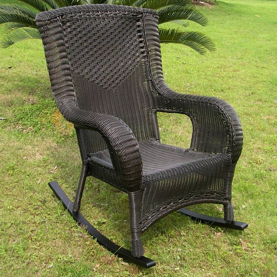 Darby Home Co Wellington Wicker Resin Aluminum High Back Patio Inside Resin Patio Rocking Chairs (#4 of 15)