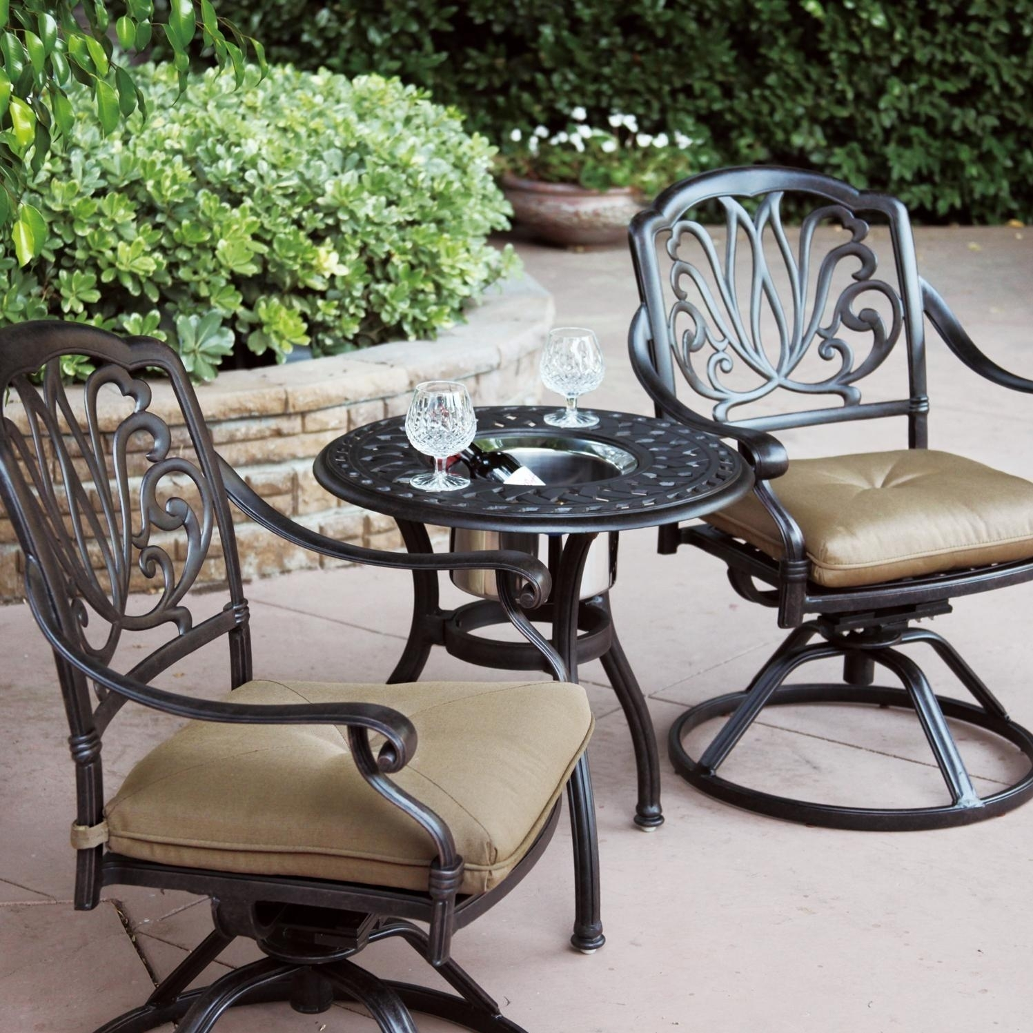 Darlee Elisabeth 3 Piece Cast Aluminum Patio Bistro Set Inside Wrought Iron Patio Rocking Chairs (View 3 of 15)