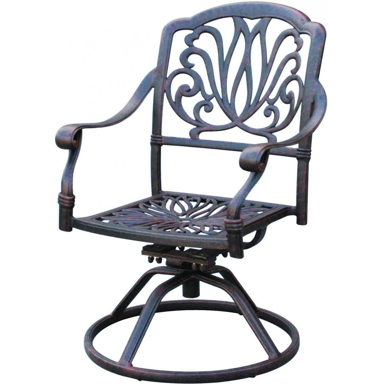Darlee Elisabeth Cast Aluminum Patio Swivel Rocker Dining Chair Intended For Aluminum Patio Rocking Chairs (View 6 of 15)