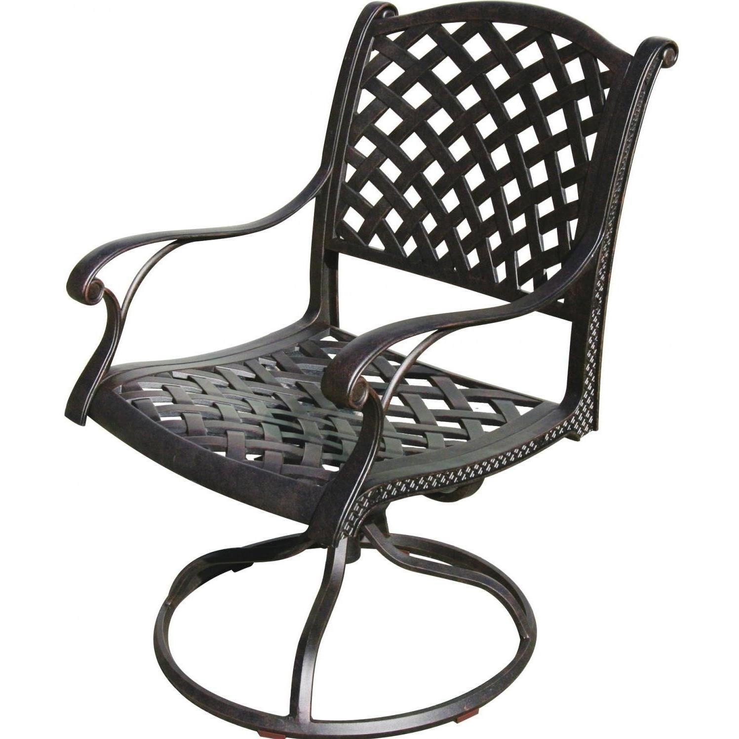 Darlee Nassau Cast Aluminum Patio Swivel Rocker Dining Chair Intended For Patio Rocking Swivel Chairs (#4 of 15)