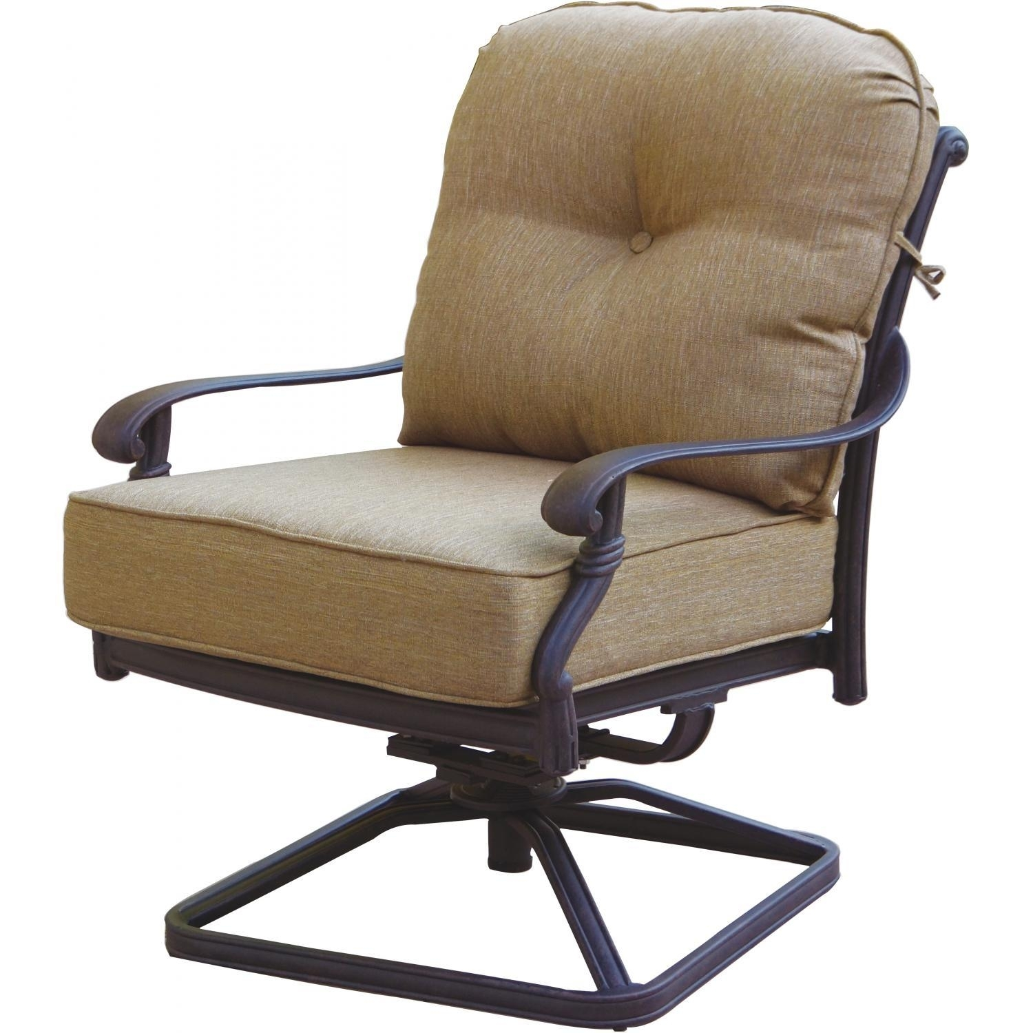 Darlee Santa Monica Cast Aluminum Patio Swivel Rocker Club Chair In Aluminum Patio Rocking Chairs (View 7 of 15)