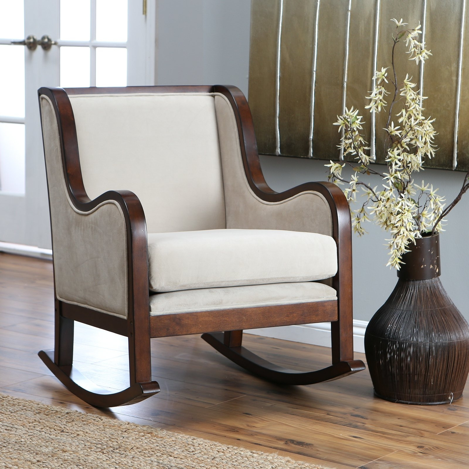 Decoration Furniture White Fabric Rocking Wooden Chair With Arms Intended For Rocking Chairs For Small Spaces (#6 of 15)