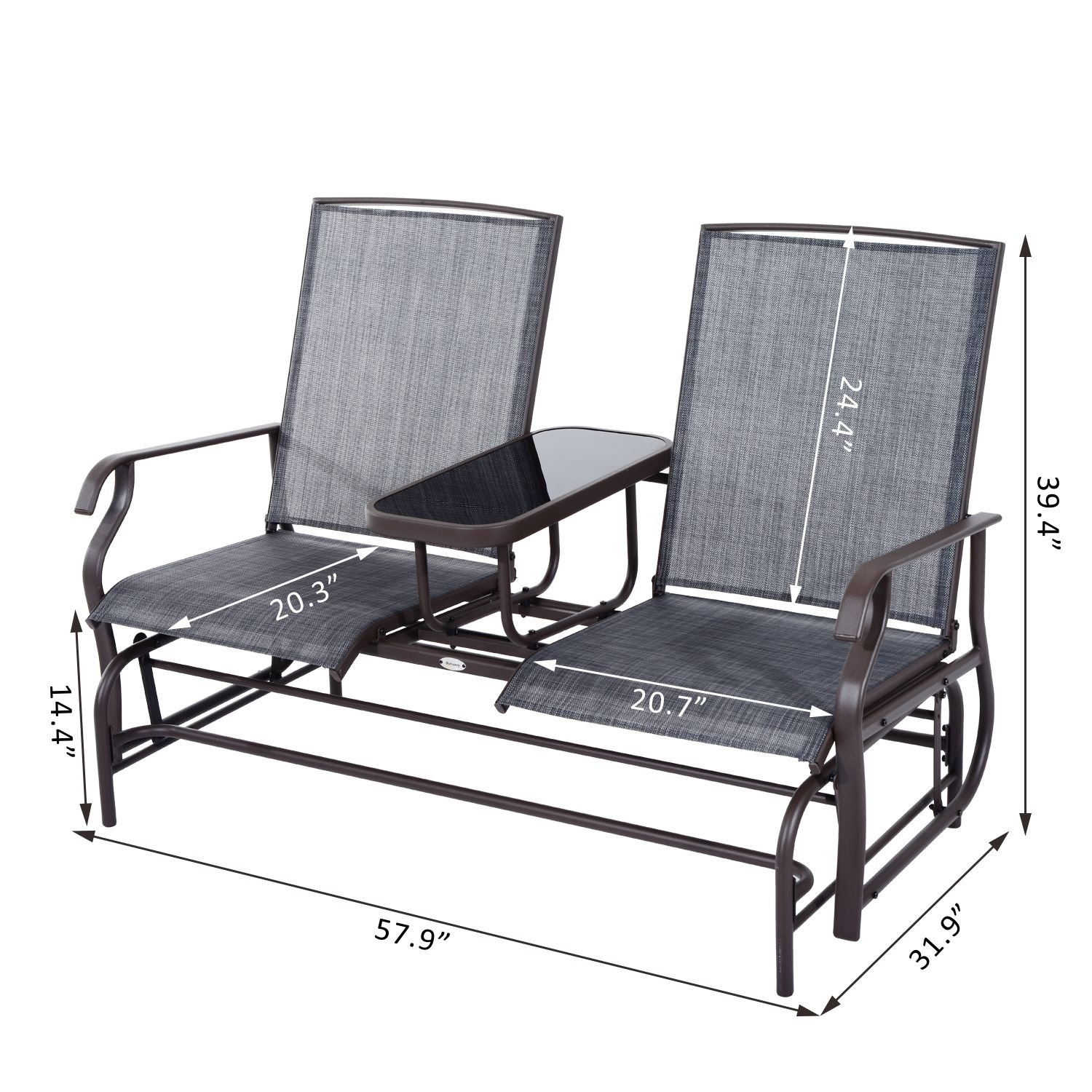 Elegant Patio Glider Chair Outsunny 2 Seater Patio Glider Rocking Throughout Patio Rocking Chairs And Gliders (#6 of 15)