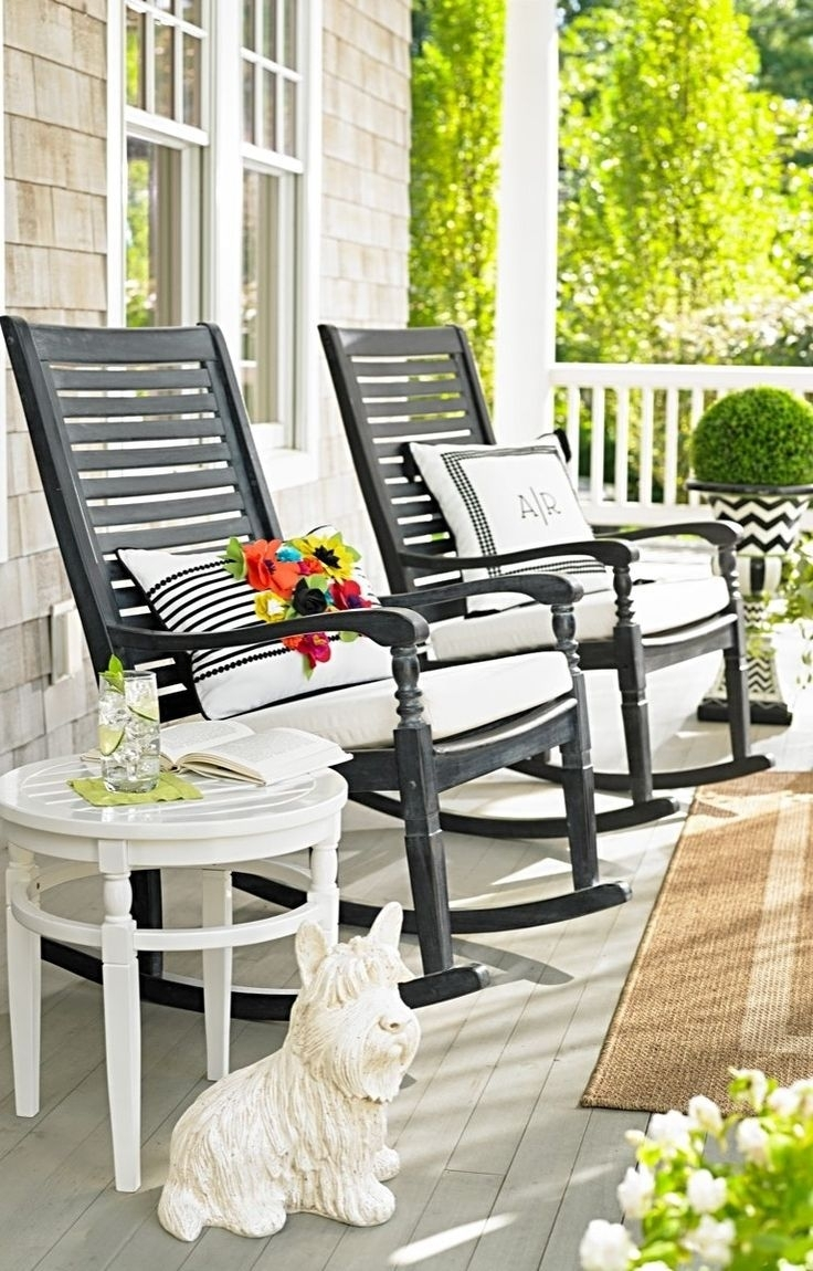 Engrossing Outdoor Rocking Chair Black Porch Rocker Wooden Front Pertaining To Small Patio Rocking Chairs (#3 of 15)