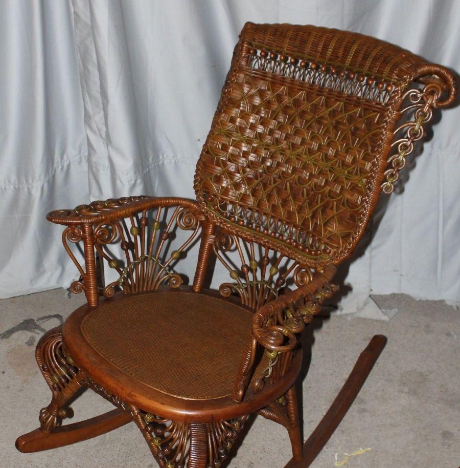 Fancy Victorian Wicker Rocker – Heywood Wakefield | Rattan / Wicker Inside Antique Wicker Rocking Chairs (#8 of 15)
