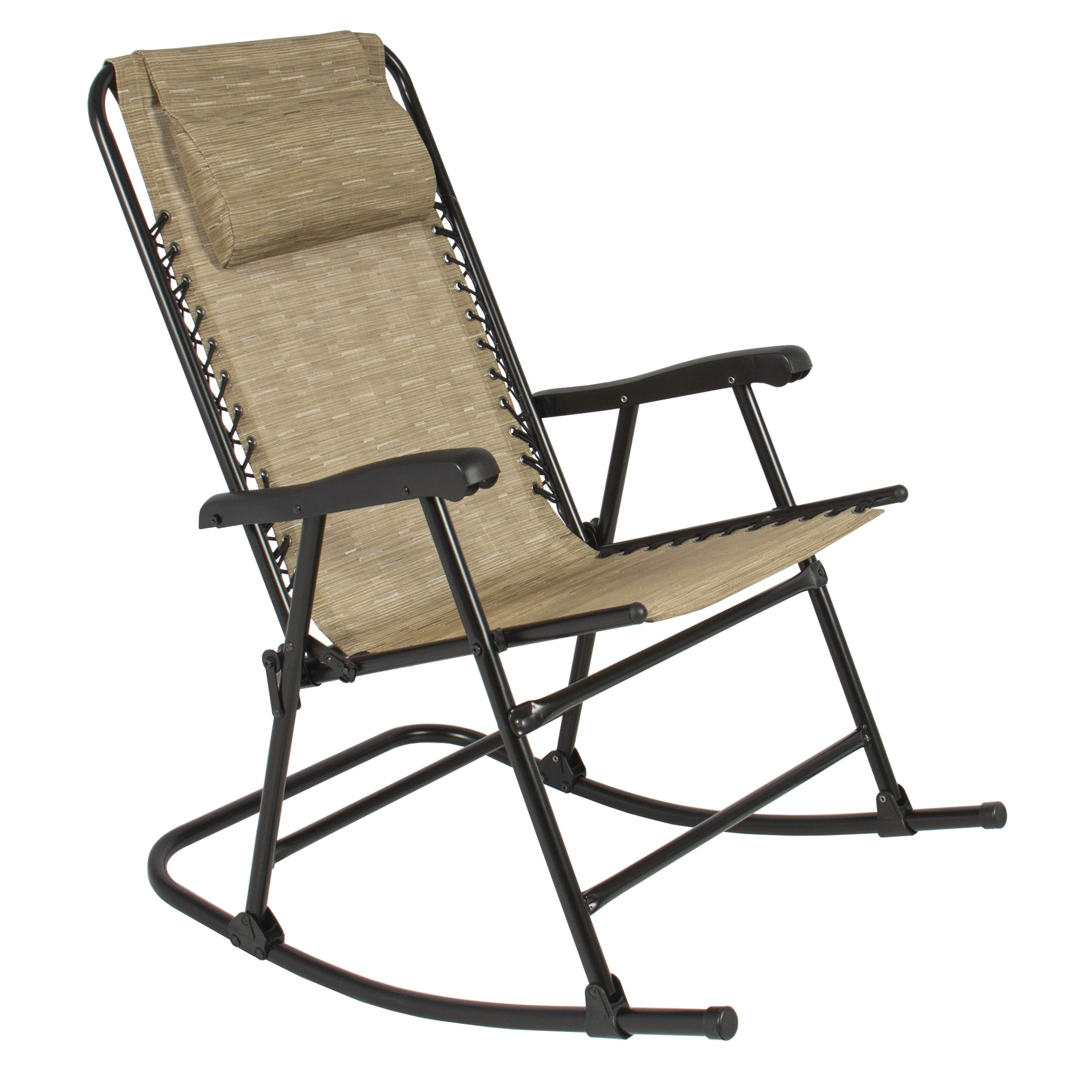 Folding Rocking Chair Foldable Rocker Outdoor Patio Furniture Beige For Rocking Chairs For Patio (#6 of 15)