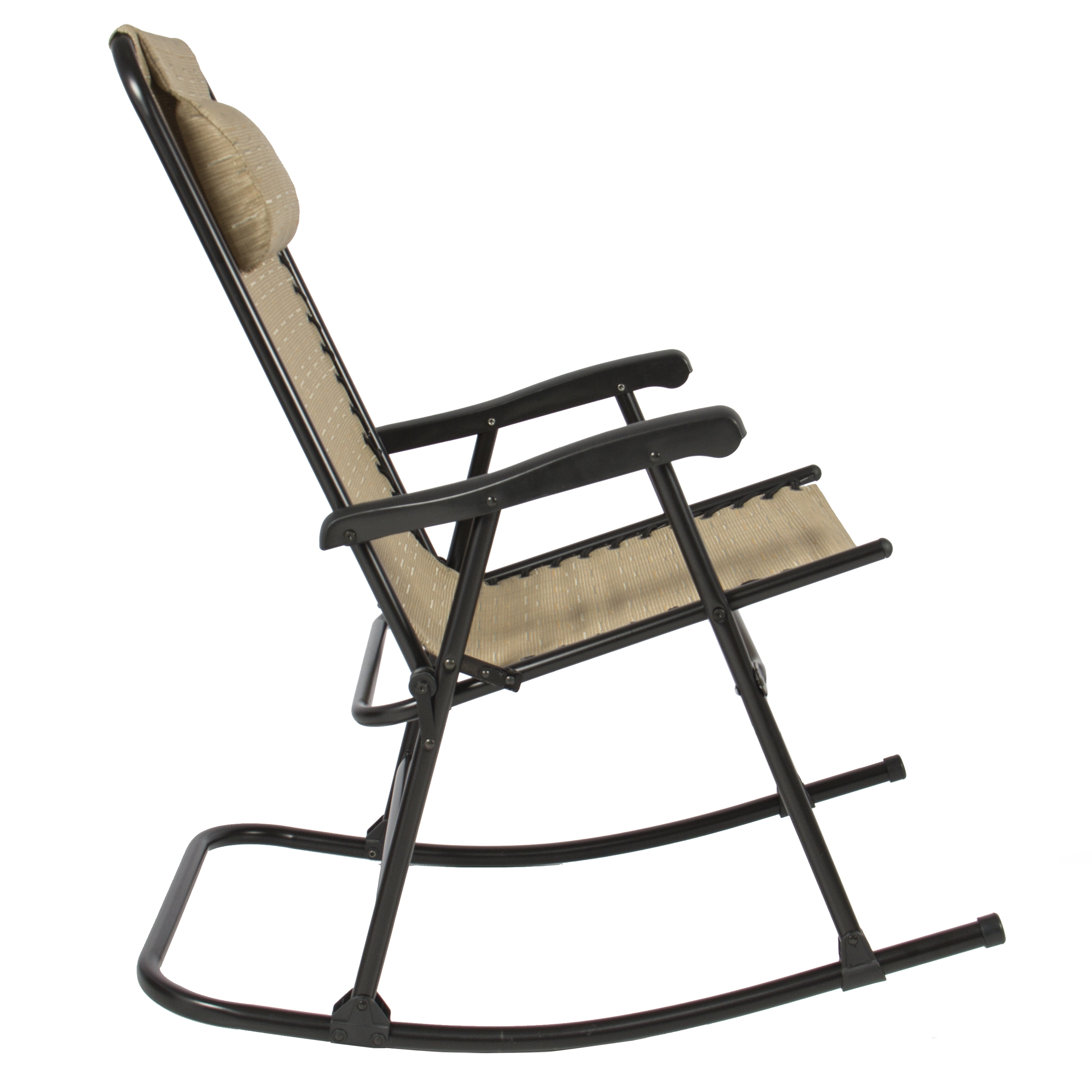 Folding Rocking Chair Foldable Rocker Outdoor Patio Furniture Beige Intended For Folding Rocking Chairs (#4 of 15)