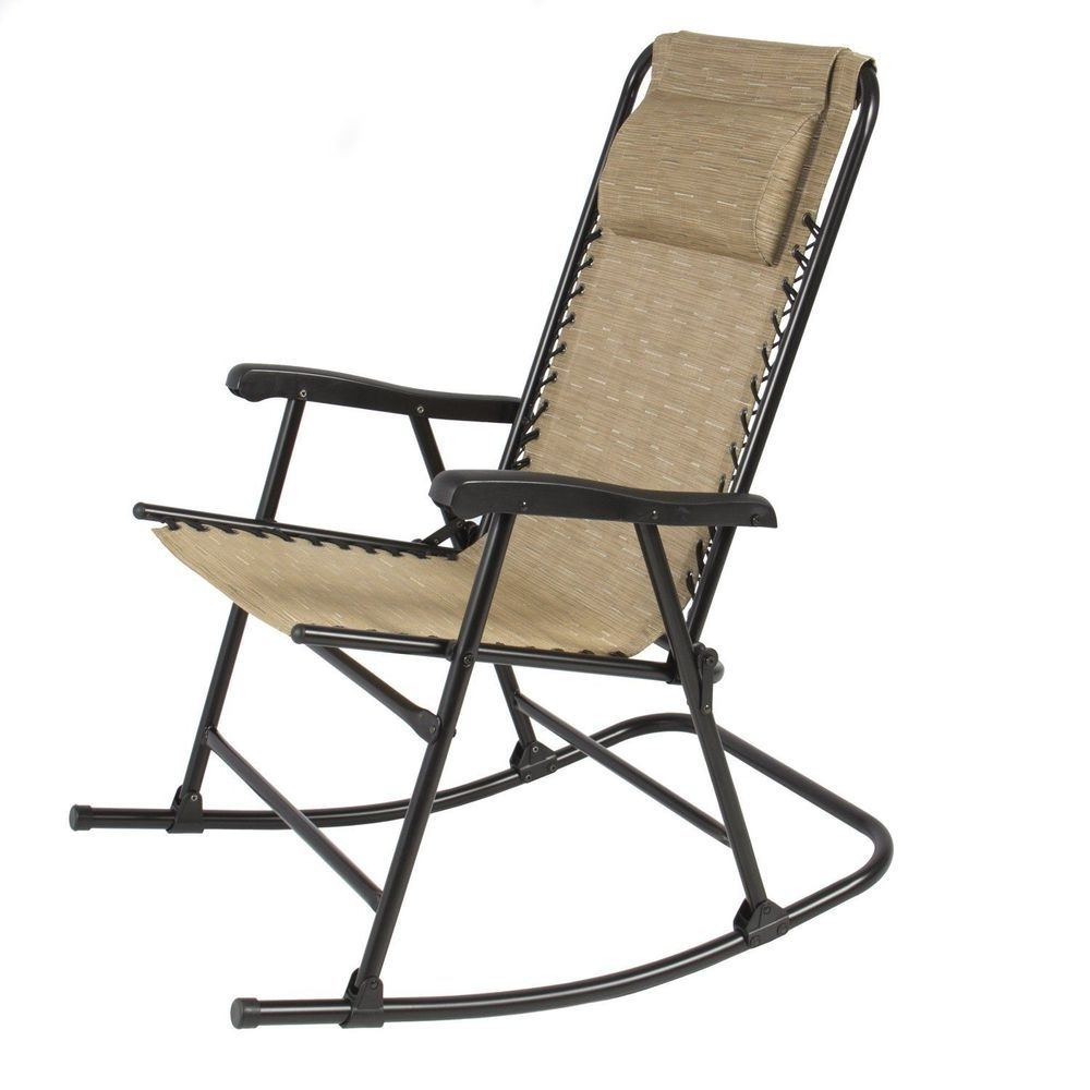 Folding Steel Rocking Chair Beige Foldable Rocker Outdoor Patio Pertaining To Folding Rocking Chairs (#5 of 15)