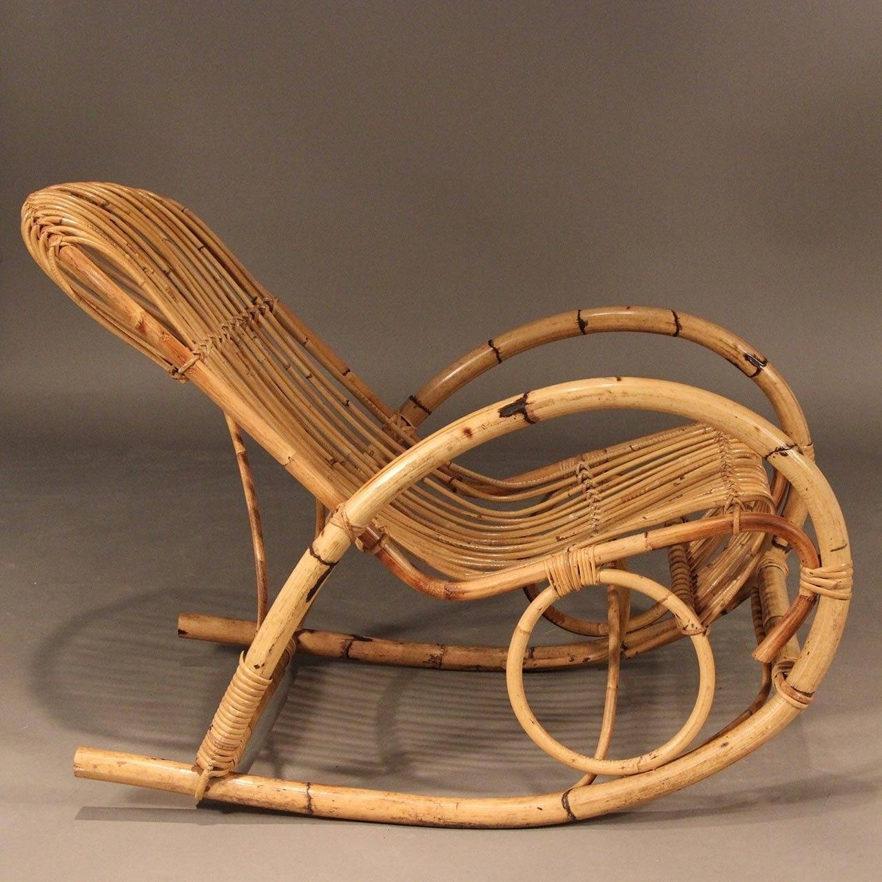 Franco Albini Style Mid Century Rattan Rocking Chair For Sale At 1Stdibs Throughout Vintage Wicker Rocking Chairs (#2 of 15)