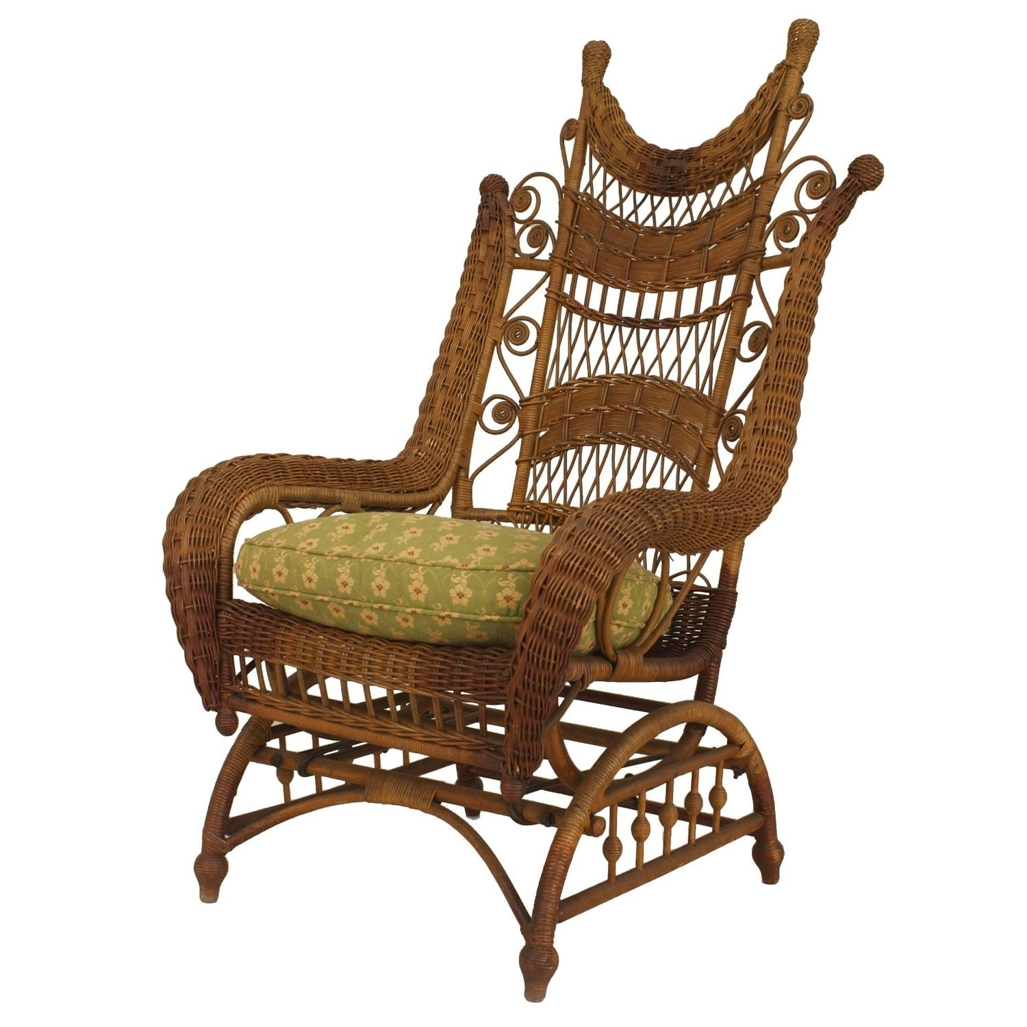 Franco Albini Style Wicker Rocking Chair And Magazine Rack For Sale For Wicker Rocking Chair With Magazine Holder (#3 of 15)