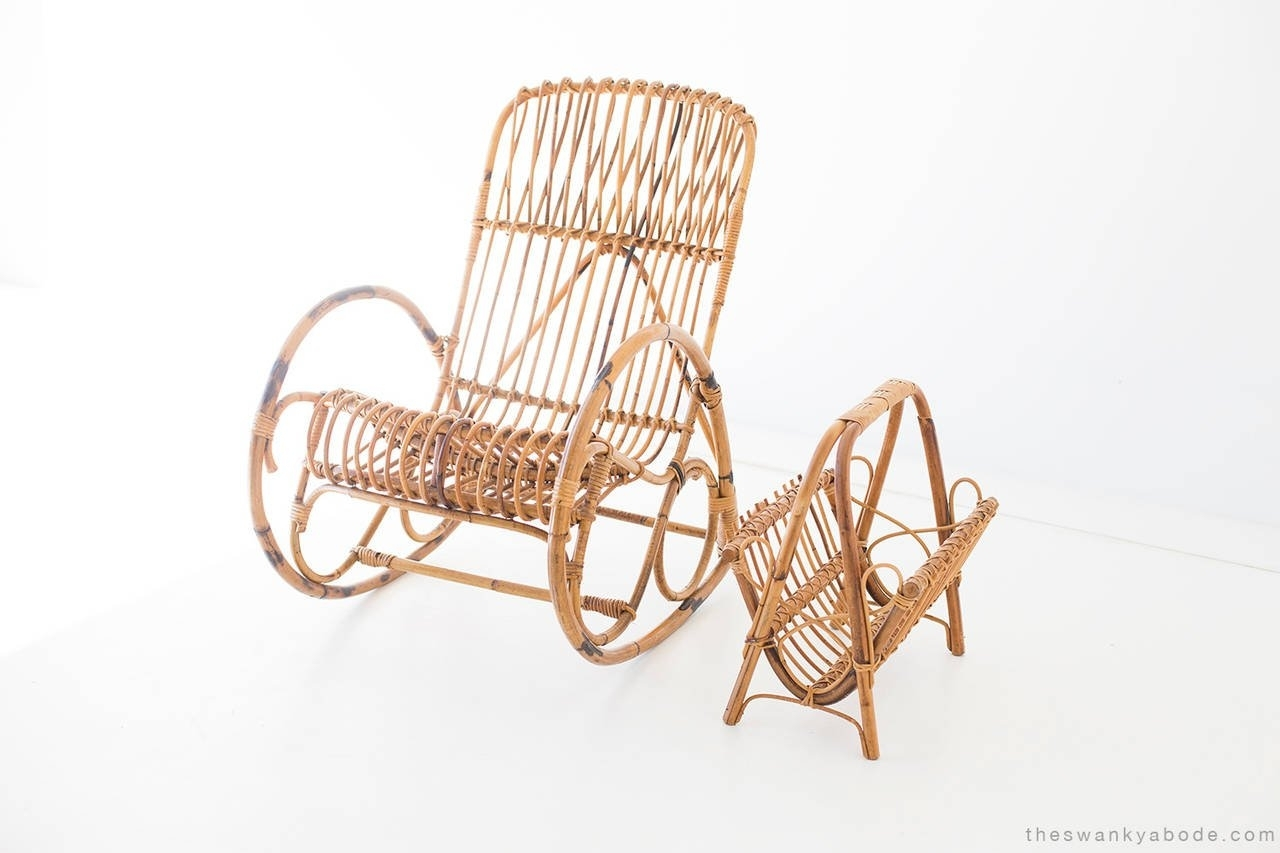 Franco Albini Style Wicker Rocking Chair And Magazine Rack For Sale In Wicker Rocking Chair With Magazine Holder (#4 of 15)