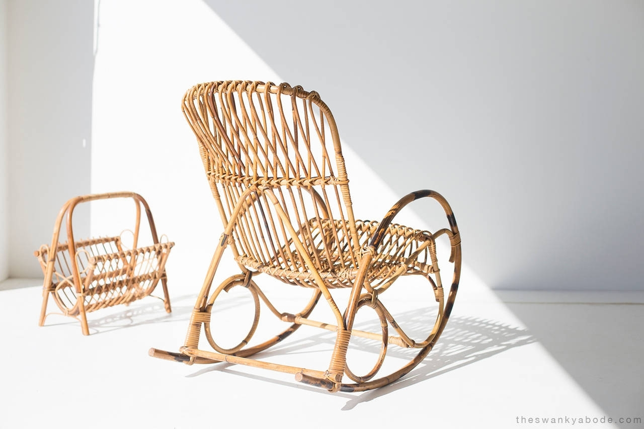 Franco Albini Style Wicker Rocking Chair And Magazine Rack For Sale Regarding Wicker Rocking Chair With Magazine Holder (#5 of 15)
