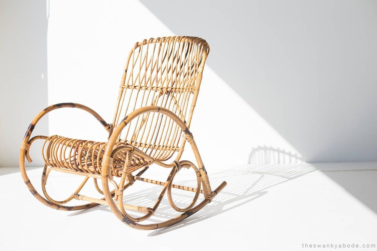 Franco Albini Style Wicker Rocking Chair And Magazine Rack Within Wicker Rocking Chair With Magazine Holder (#7 of 15)