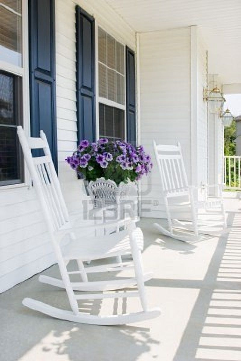 Front Porch And White Rocking Chairs :) | Outdoor Spaces For The With Regard To Rocking Chairs For Front Porch (#2 of 15)