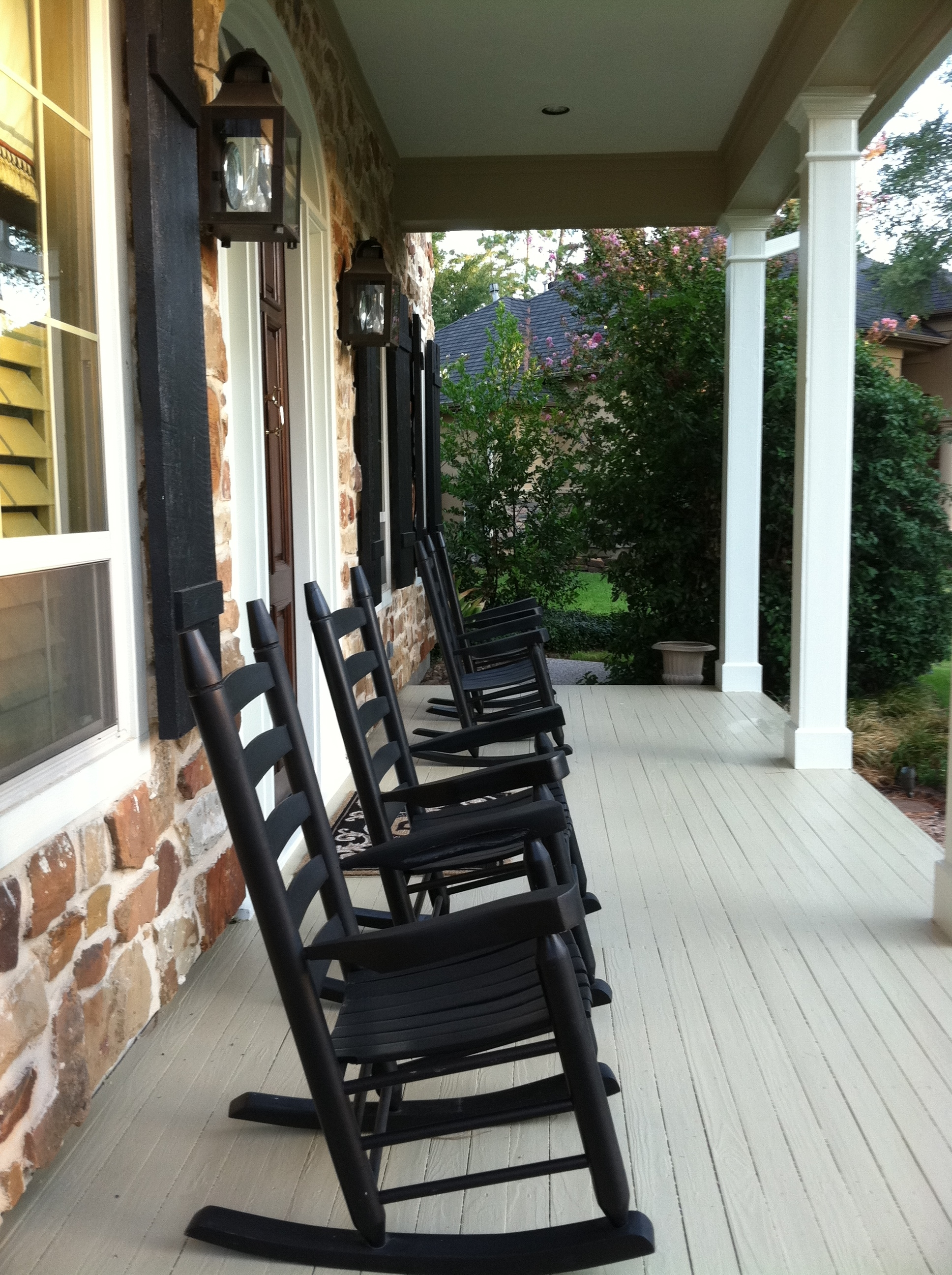 Front Porch Furnitures Set Using Black Stained Wooden Rocking Chair Inside Rocking Chairs For Front Porch (#3 of 15)