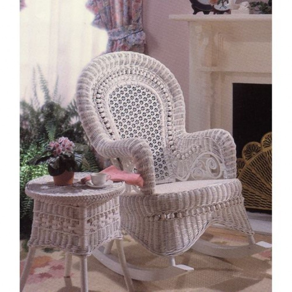 Furniture: Comely Living Room Decoration Using White Wicker Rocking Within Wicker Rocking Chairs And Ottoman (#6 of 15)