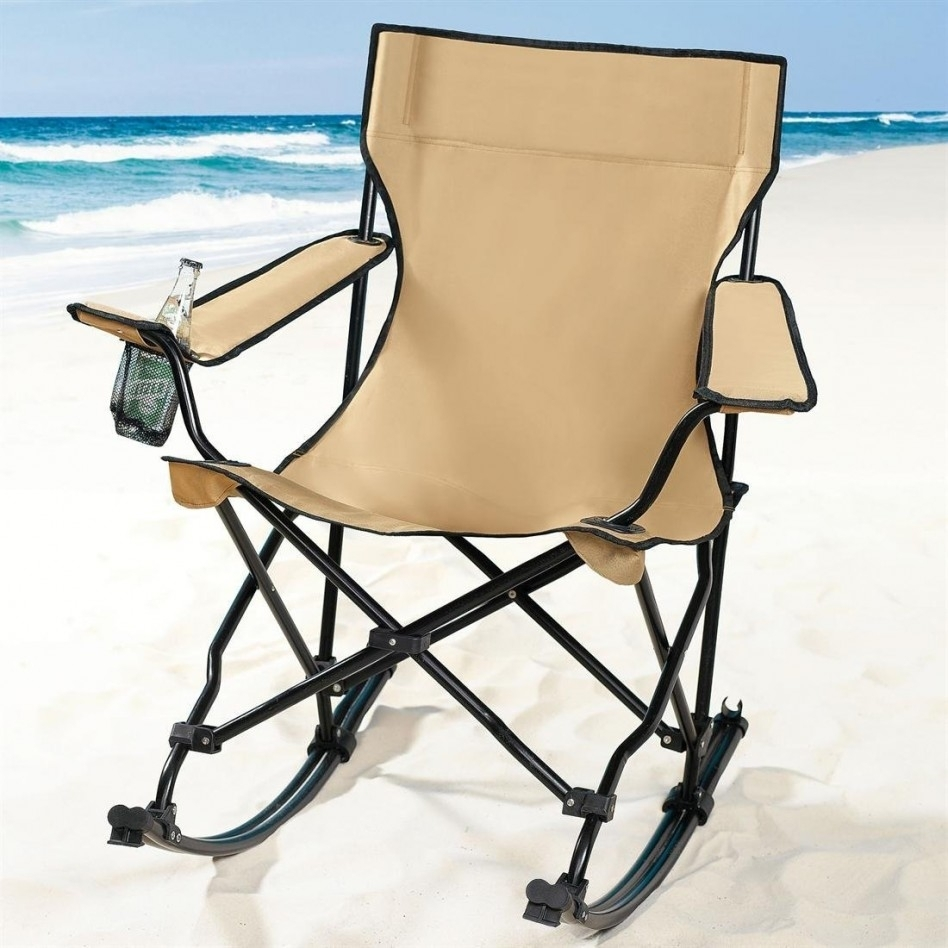 Furniture: Cool Camping Rocking Chair And Black Iron Outdoor Folding Intended For Folding Rocking Chairs (#6 of 15)