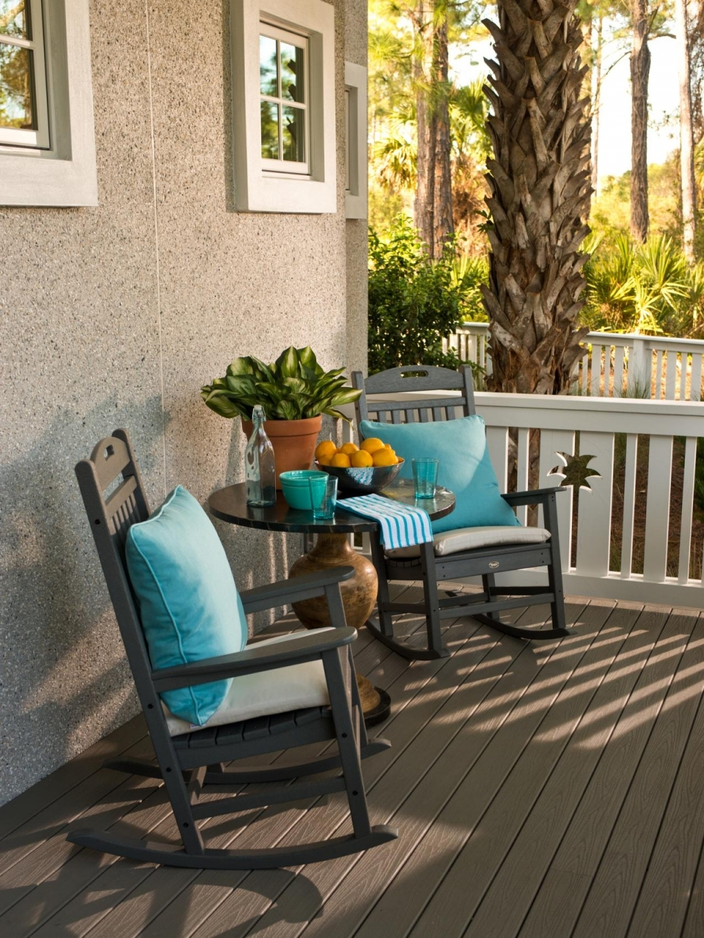 Furniture: Front Porch Chairs Beautiful Coastal Front Porch With Intended For Rocking Chairs For Front Porch (#7 of 15)