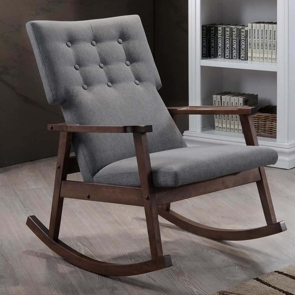 Furniture Gray Upholstered Rocking Chair With Dark Wood Frame On In For Rocking Chairs At Target (#4 of 15)