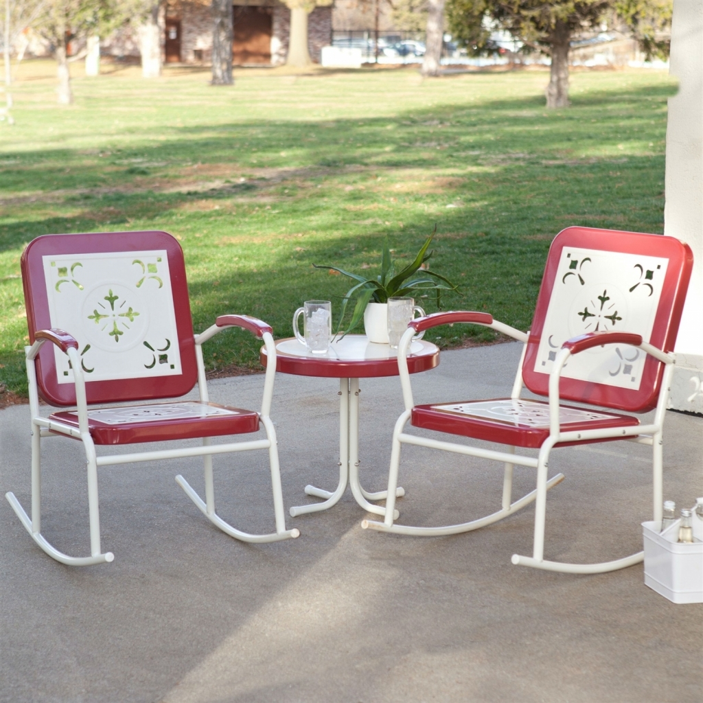 Furniture: Patio Rocking Chair Elegant Cherry Red Retro Patio 3 Pc Pertaining To Outside Rocking Chair Sets (View 6 of 15)