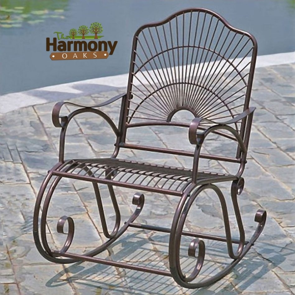Furniture: Salterini Vintage Wrought Iron Patio Furniture, Endearing Throughout Wrought Iron Patio Rocking Chairs (View 4 of 15)