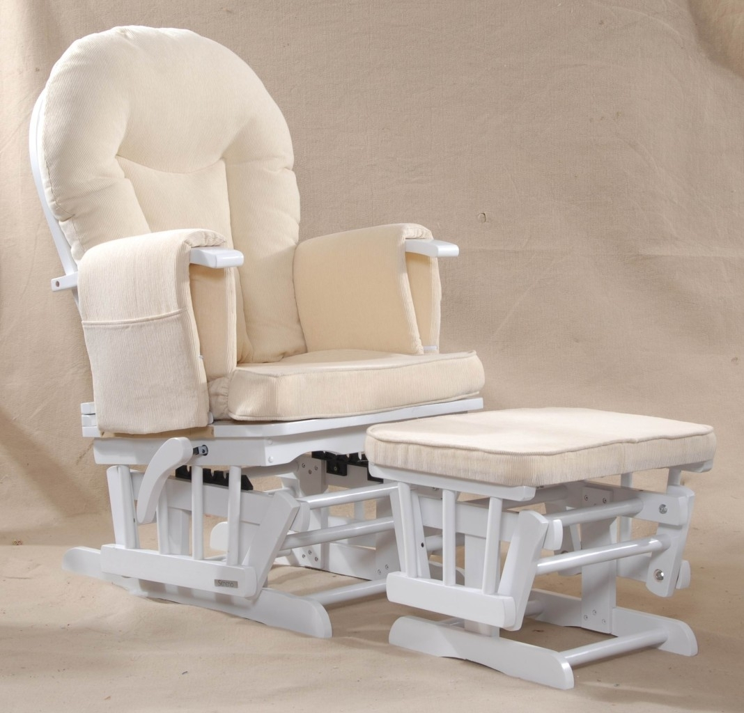 Furniture. Simple And Elegant White Rocking Chair For Nursery (View 7 of 15)